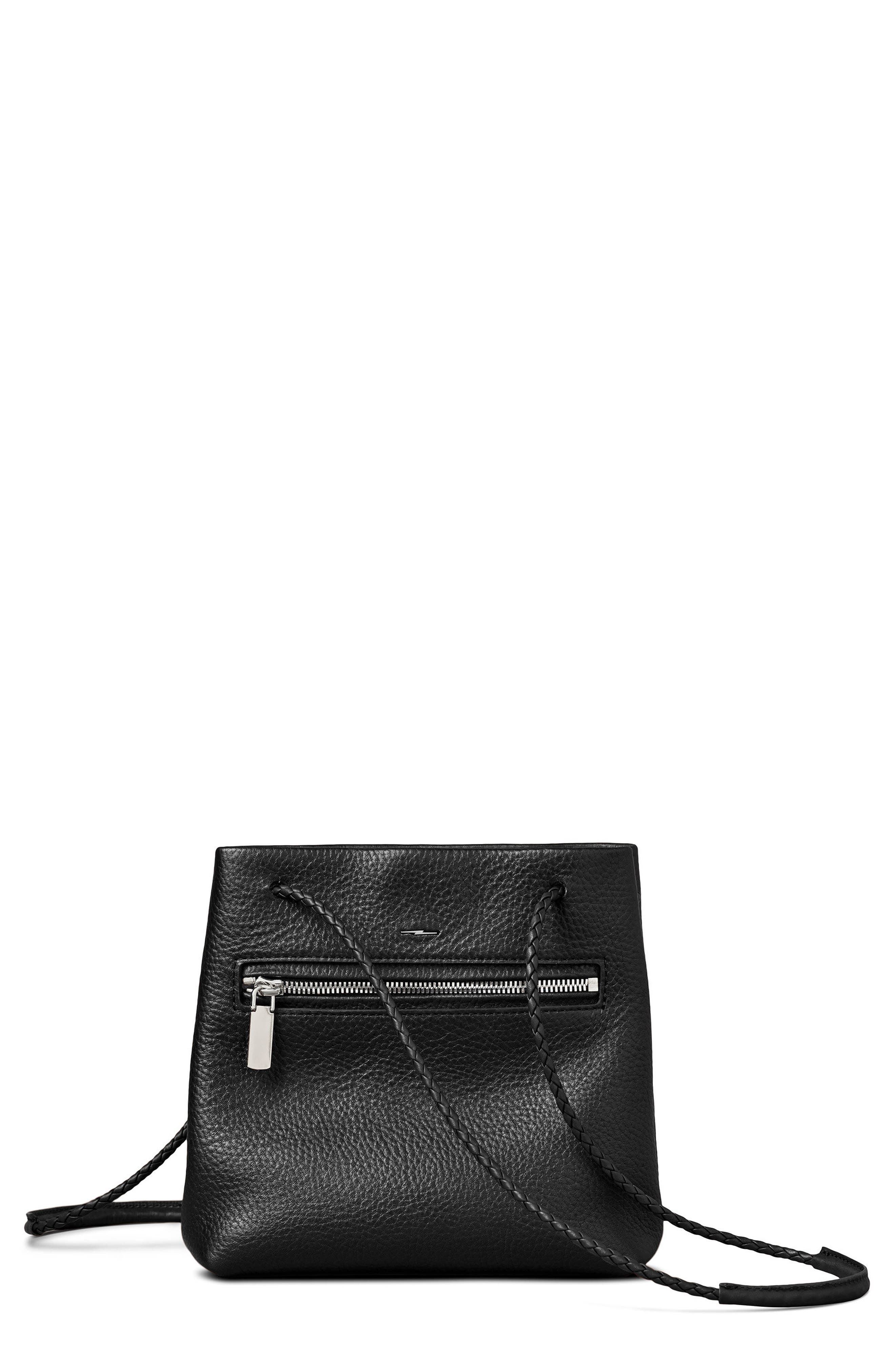 Mini Pebbled Leather Drawstring Crossbody Bag,                             Main thumbnail 1, color,                             001