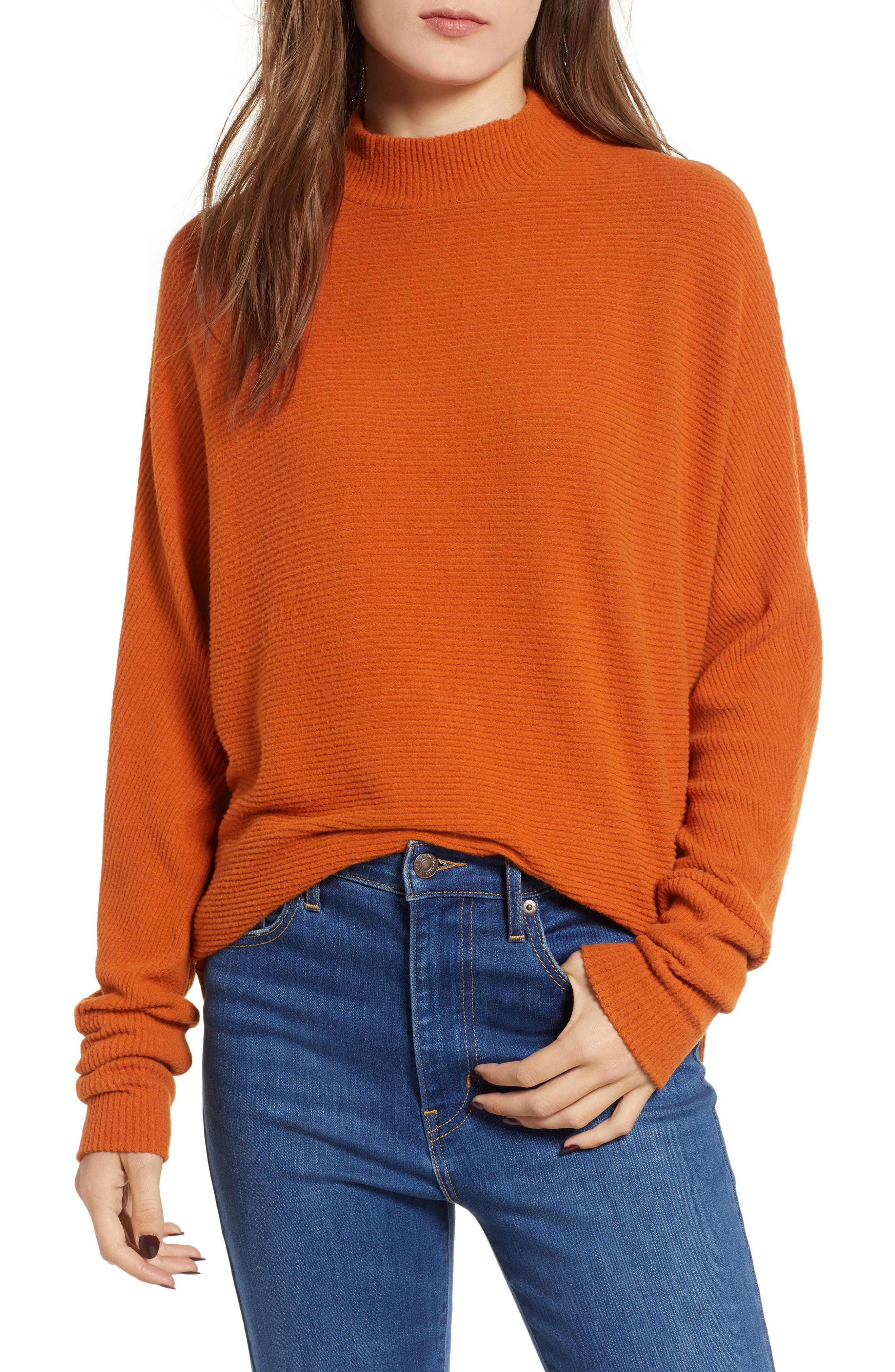 Dolman Sleeve Ribbed Top,                         Main,                         color, RUST CIDER