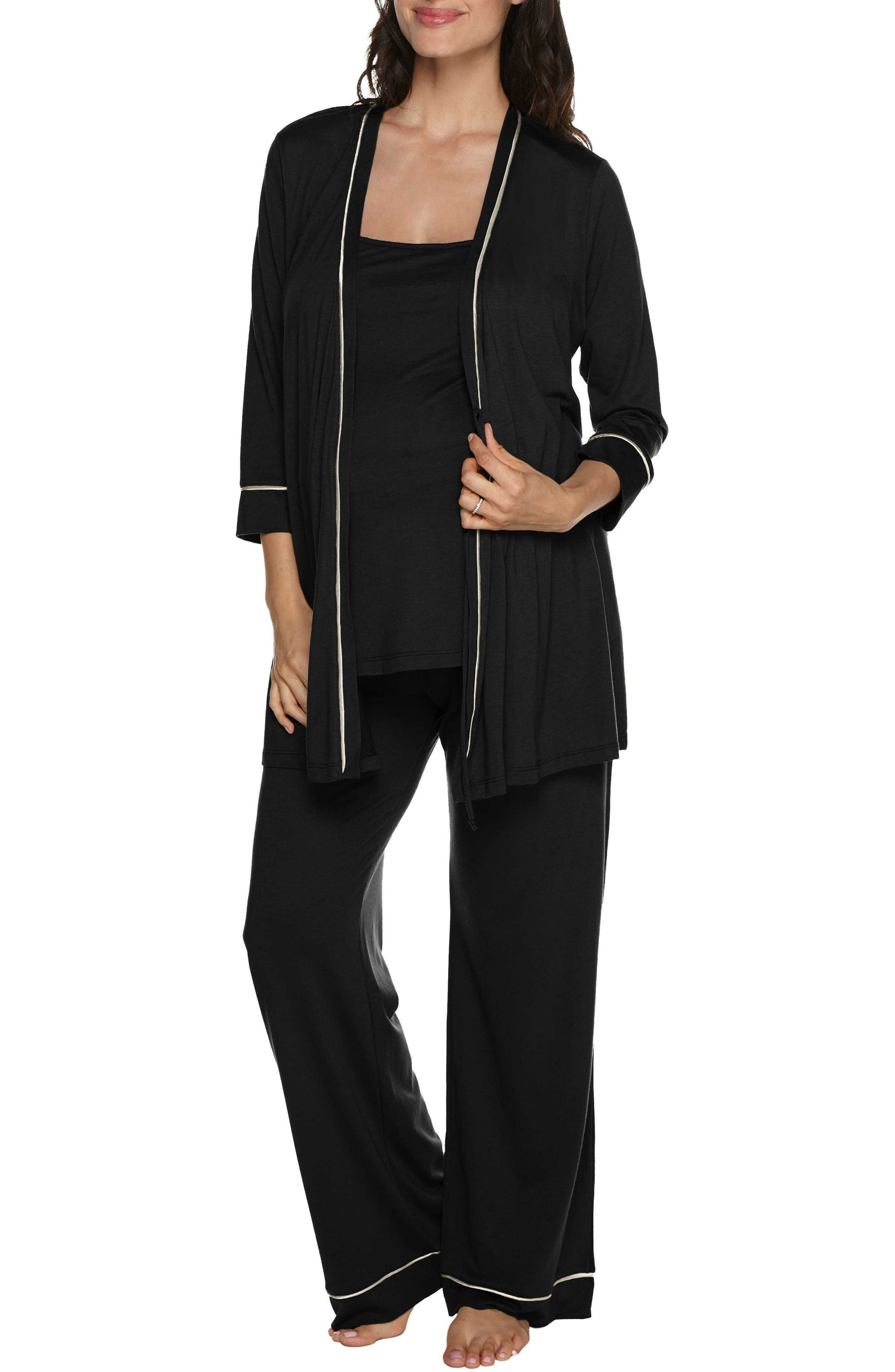 Bella 3-Piece Maternity Pajamas,                         Main,                         color, BLACK/ IVORY