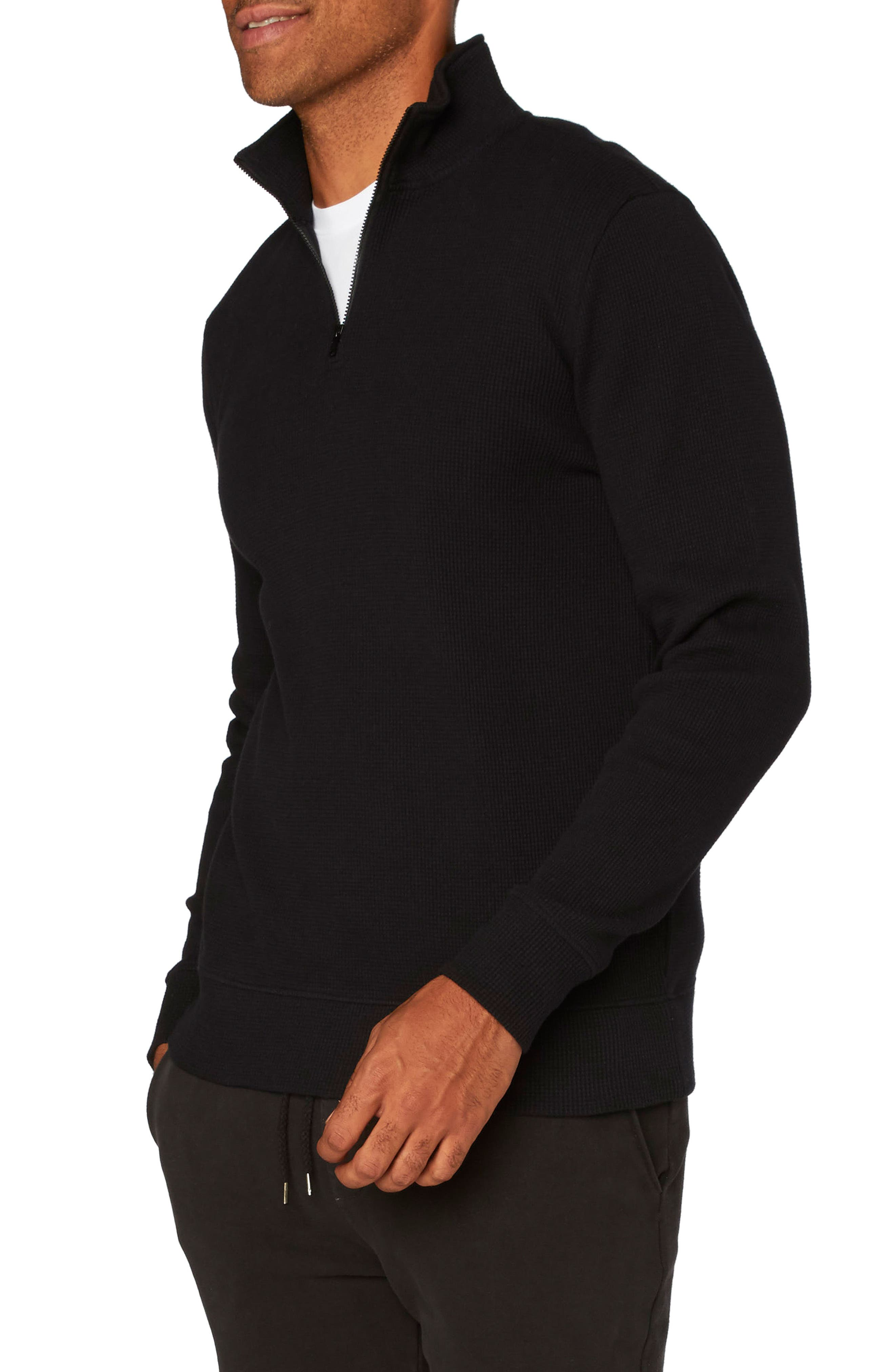 Chad Half Zip Thermal Pullover,                             Alternate thumbnail 3, color,                             001