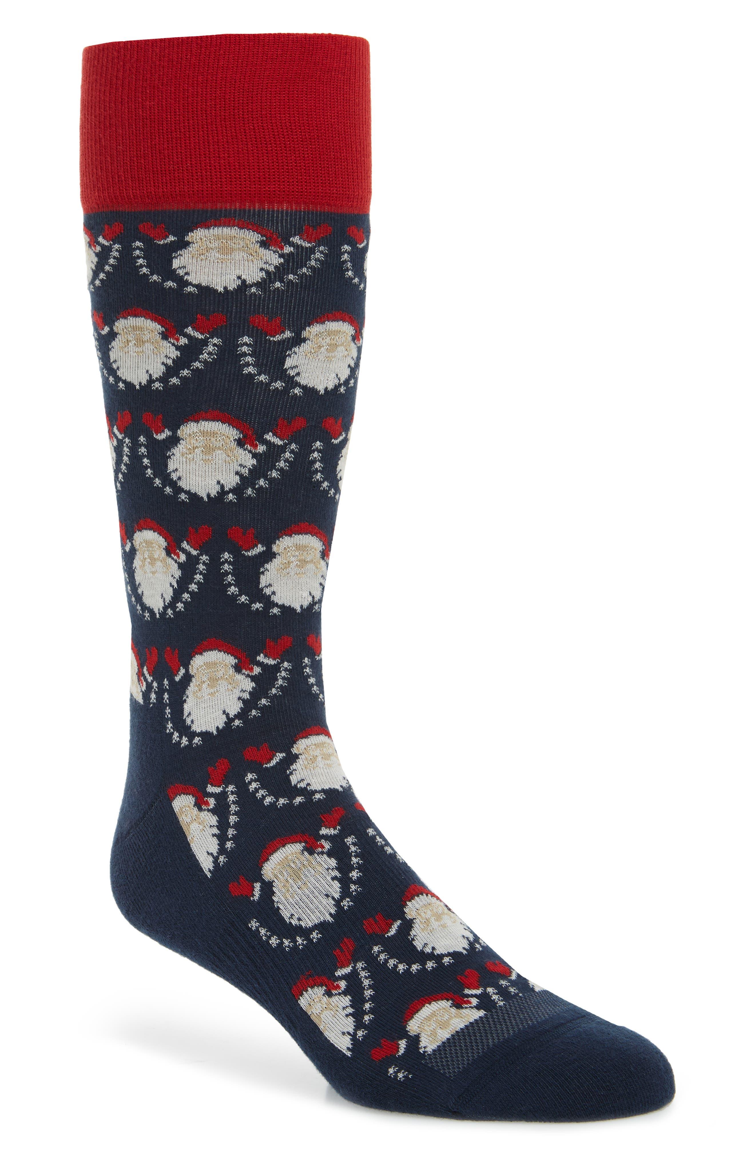 Holiday Pop-Up Santa Socks,                             Main thumbnail 1, color,                             410