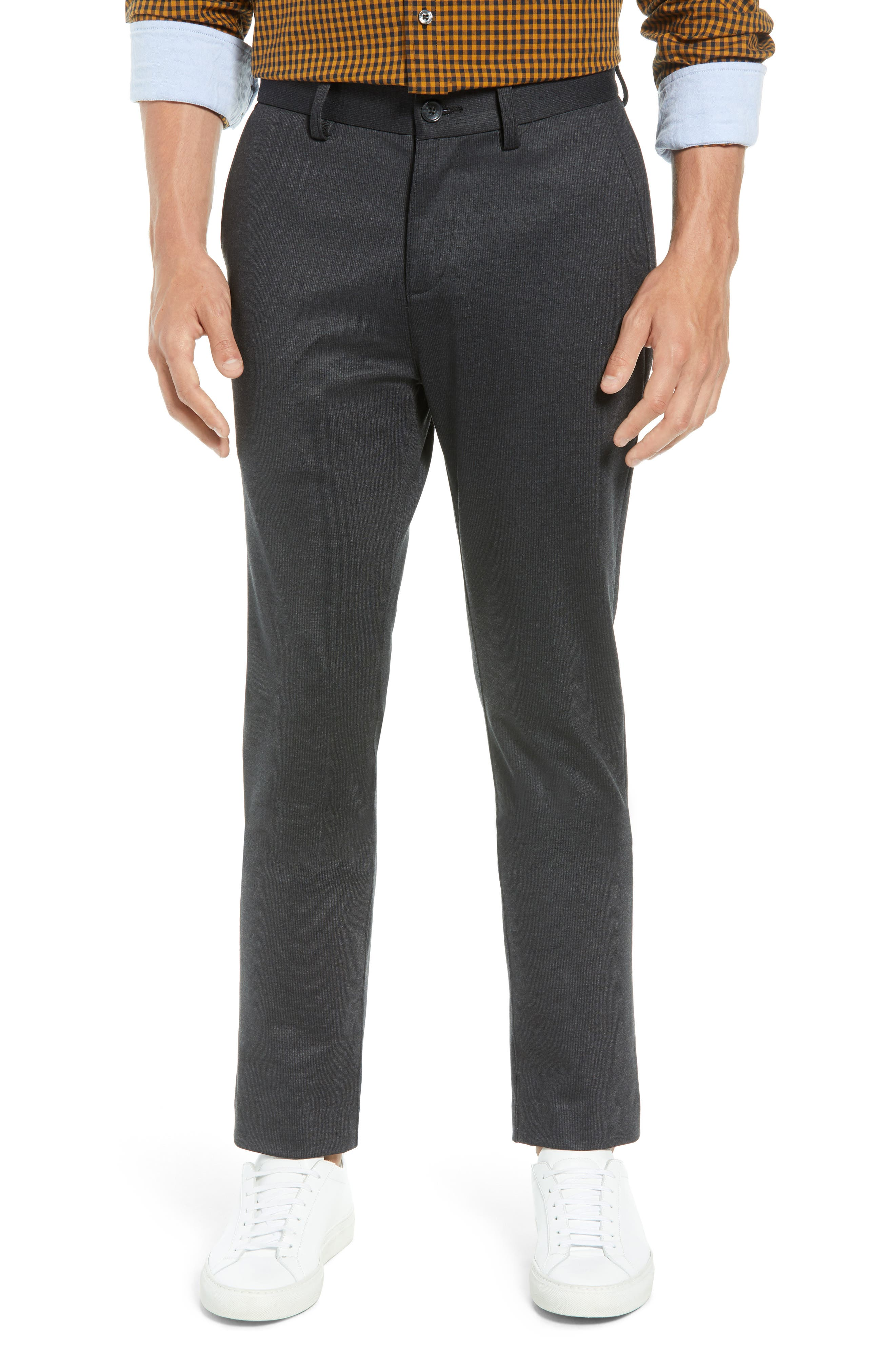 BEN SHERMAN Slim Fit Ponte Knit Trousers in Charcoal