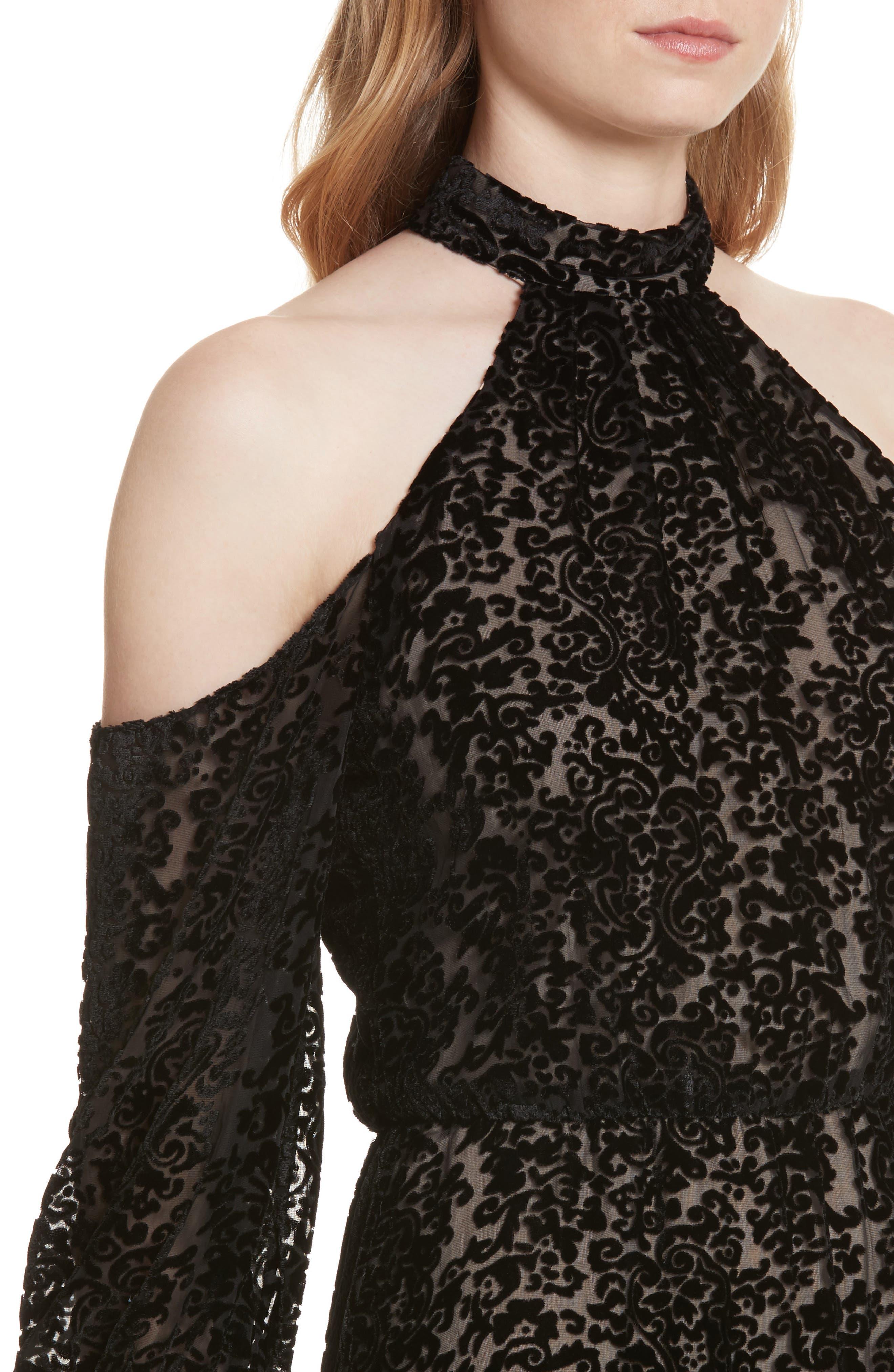 Ruthann Cold Shoulder Burnout Velvet Dress,                             Alternate thumbnail 4, color,                             001