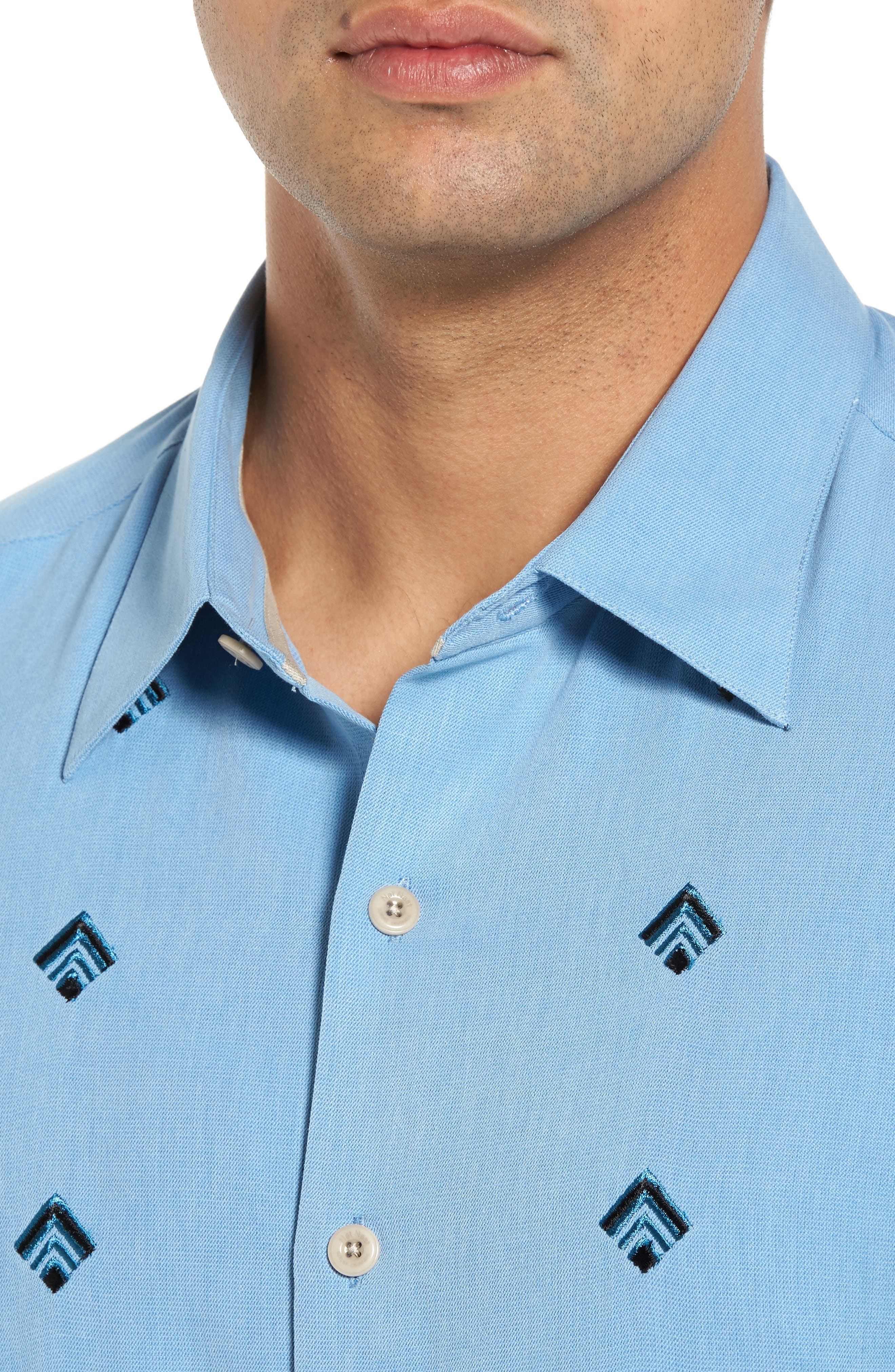 Nordic Embroidered Silk Blend Sport Shirt,                             Alternate thumbnail 8, color,