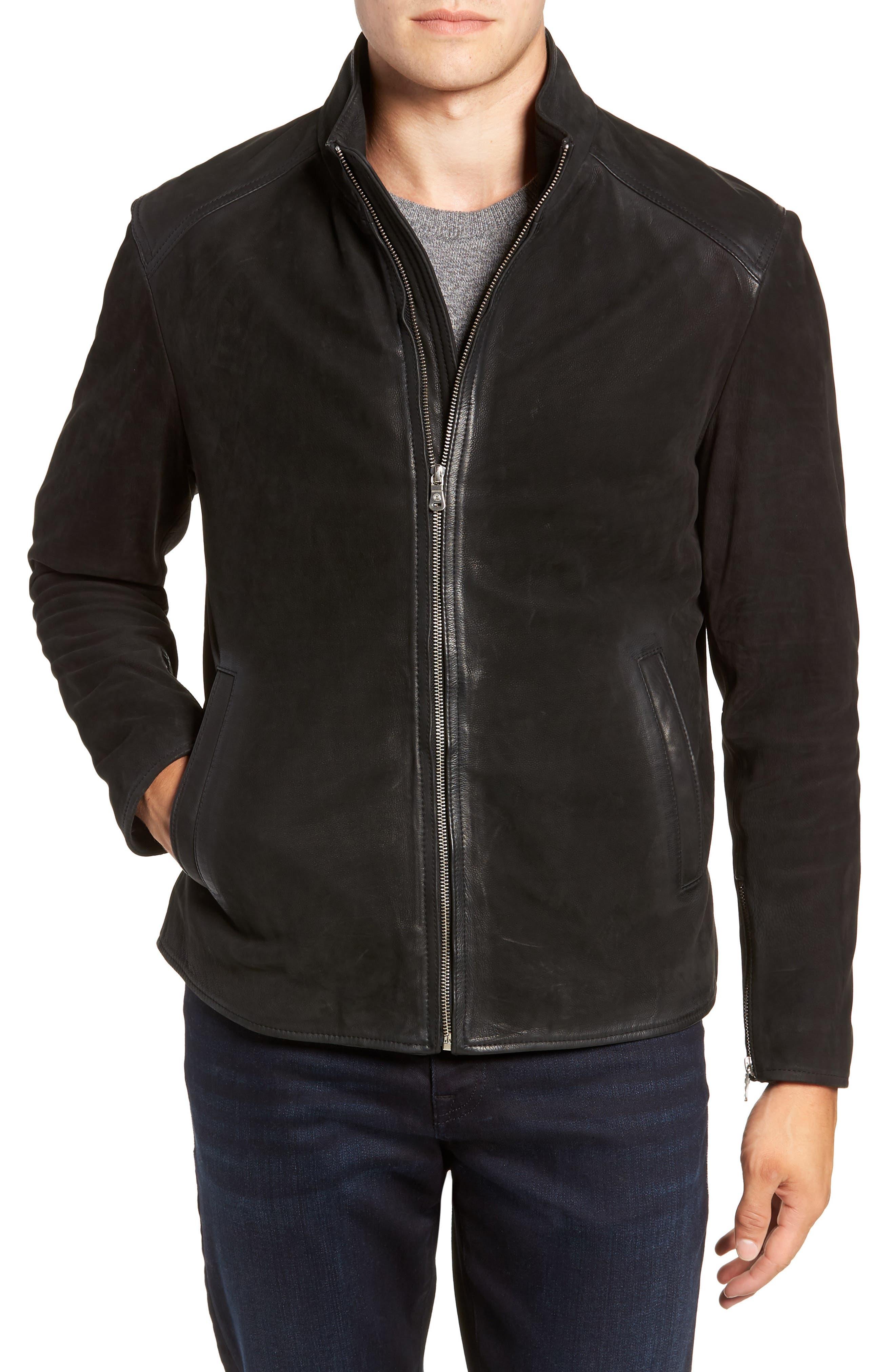 Regular Fit Leather Moto Jacket,                             Alternate thumbnail 4, color,                             BLACK