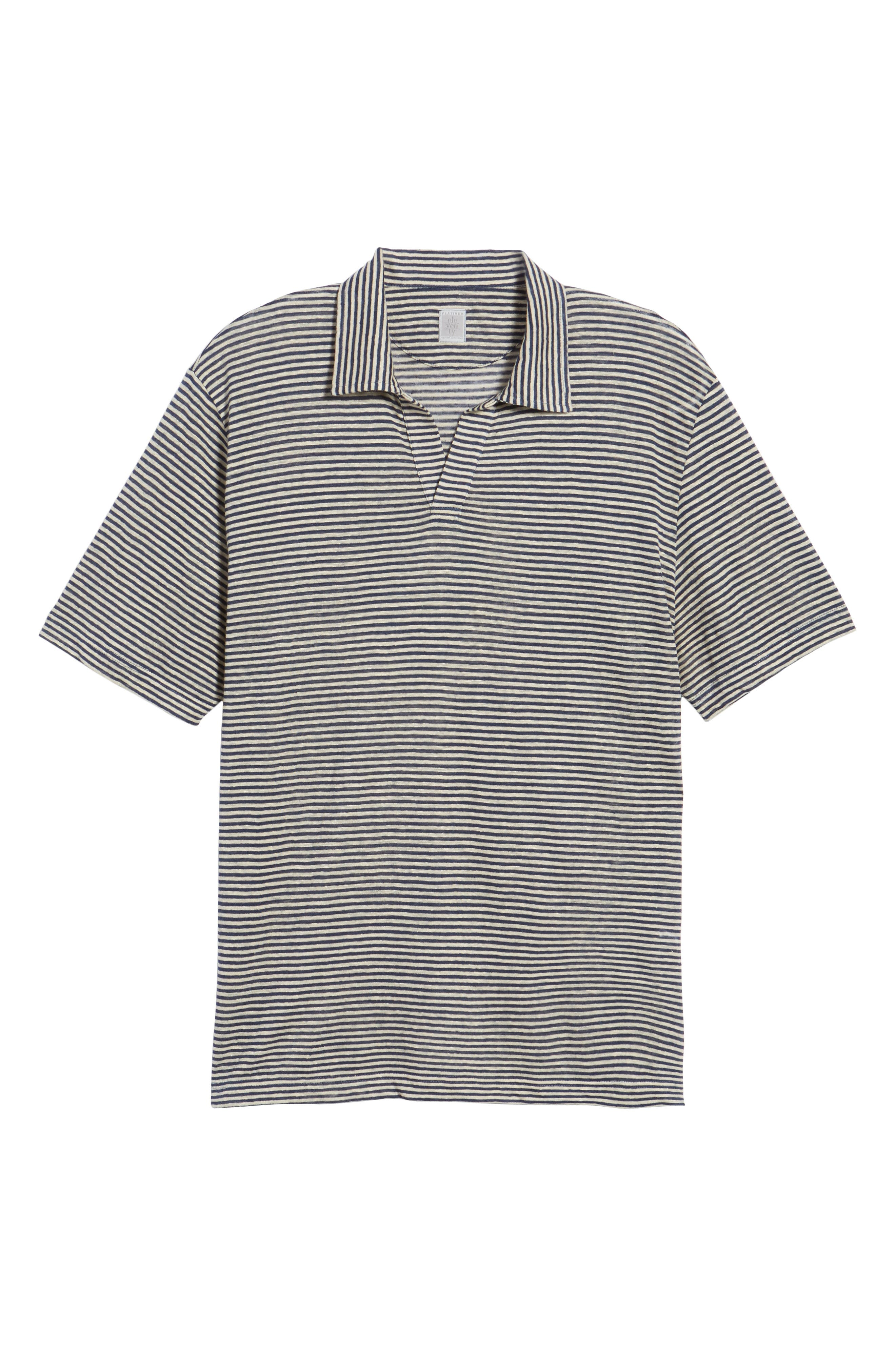Johnny Stripe Linen Polo Shirt,                             Alternate thumbnail 6, color,                             410