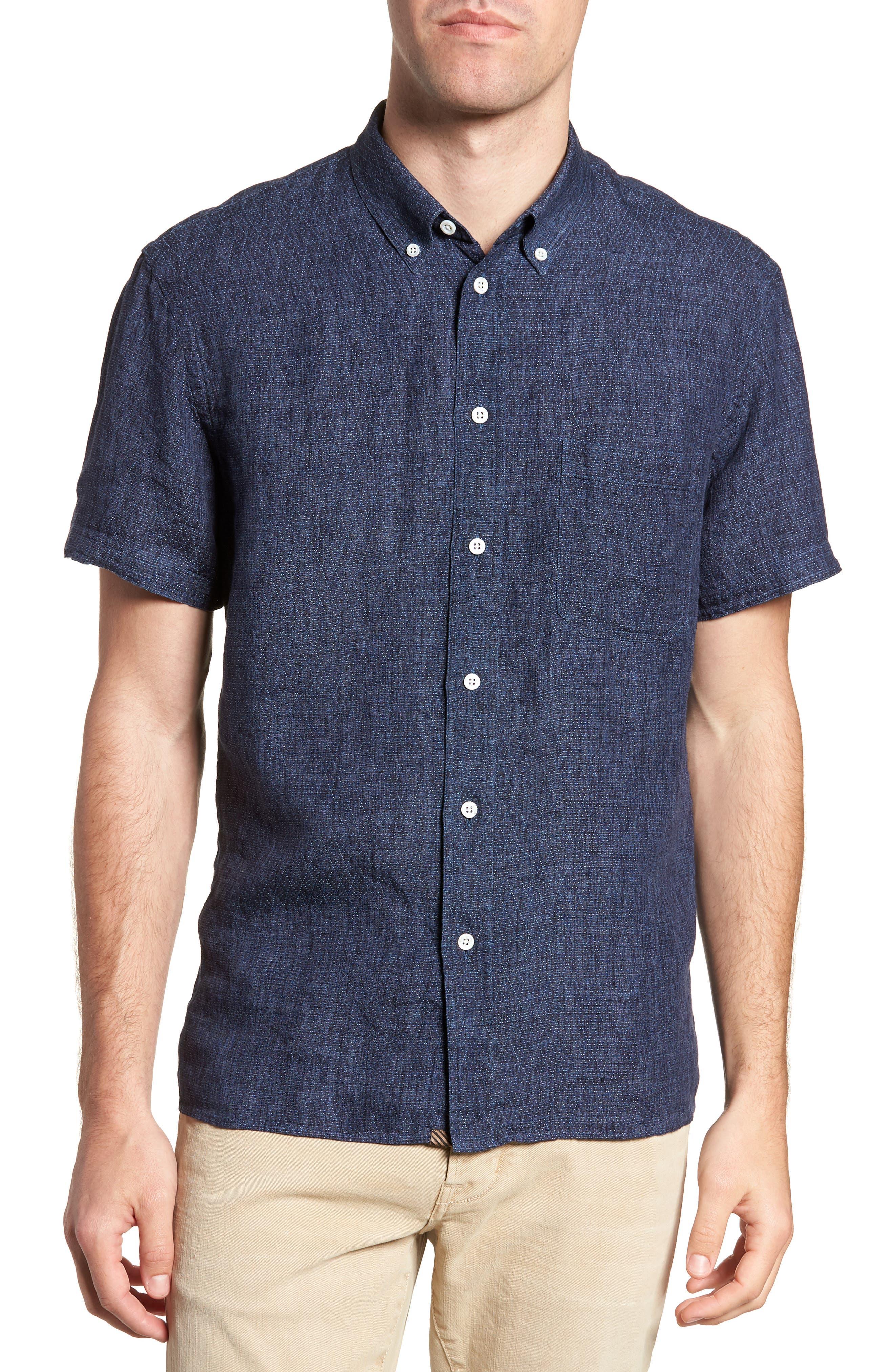 Leo Standard Fit Short Sleeve Sport Shirt,                         Main,                         color, BLUE