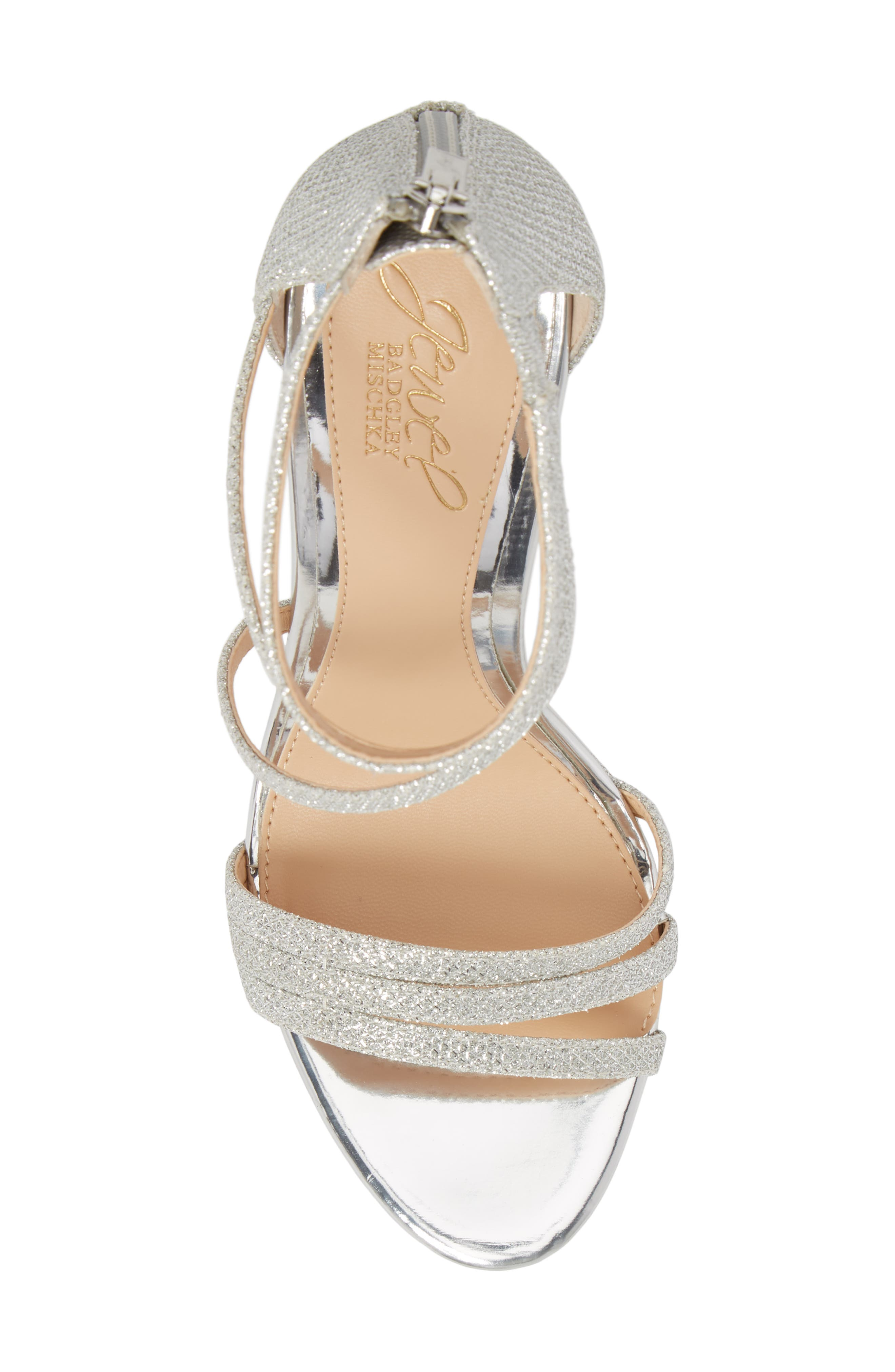 Maeva Platform Sandal,                             Alternate thumbnail 5, color,                             SILVER GLITTER FABRIC