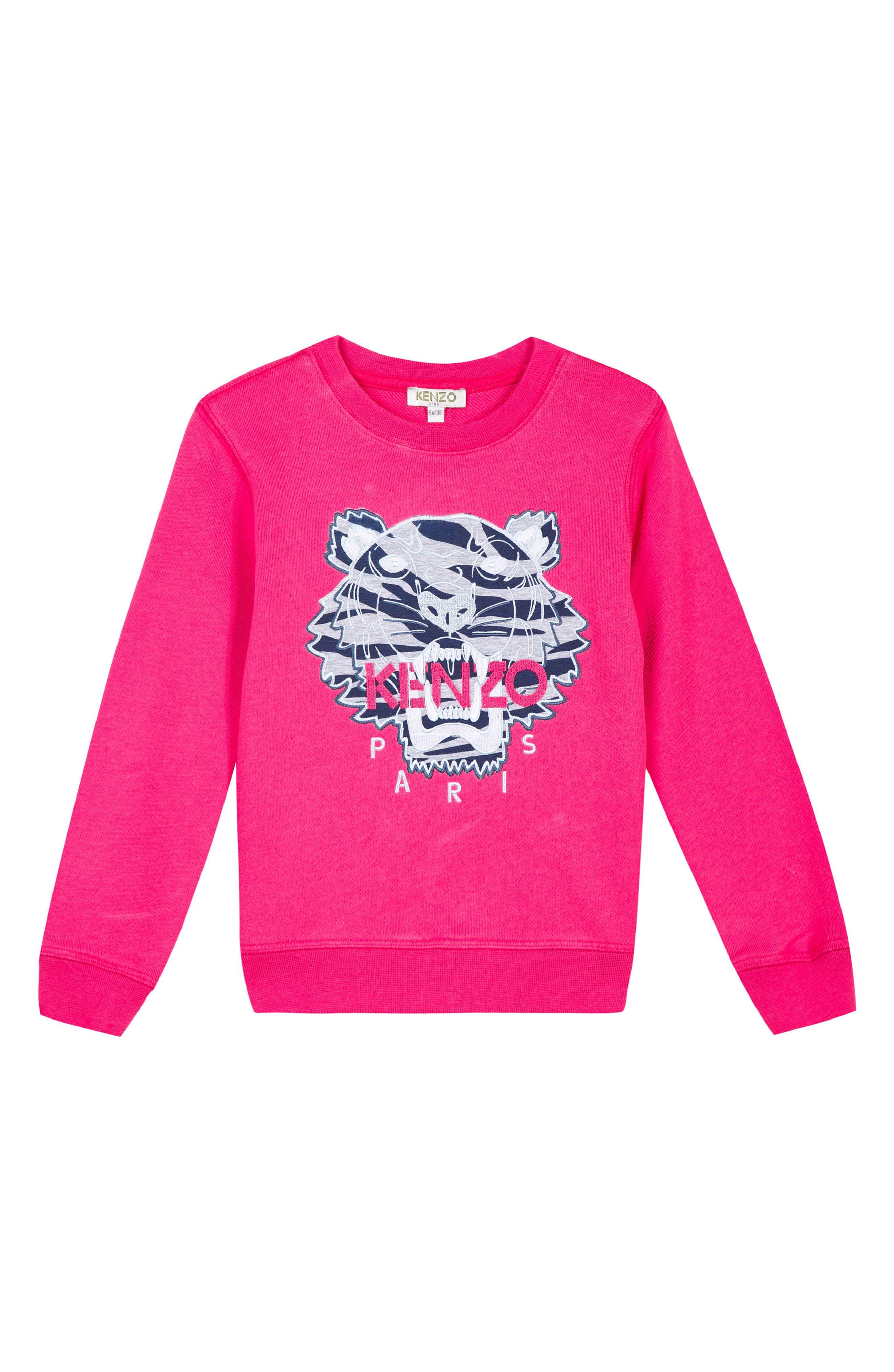 Embroidered Tiger Logo Sweatshirt,                             Main thumbnail 1, color,                             FUCHSIA
