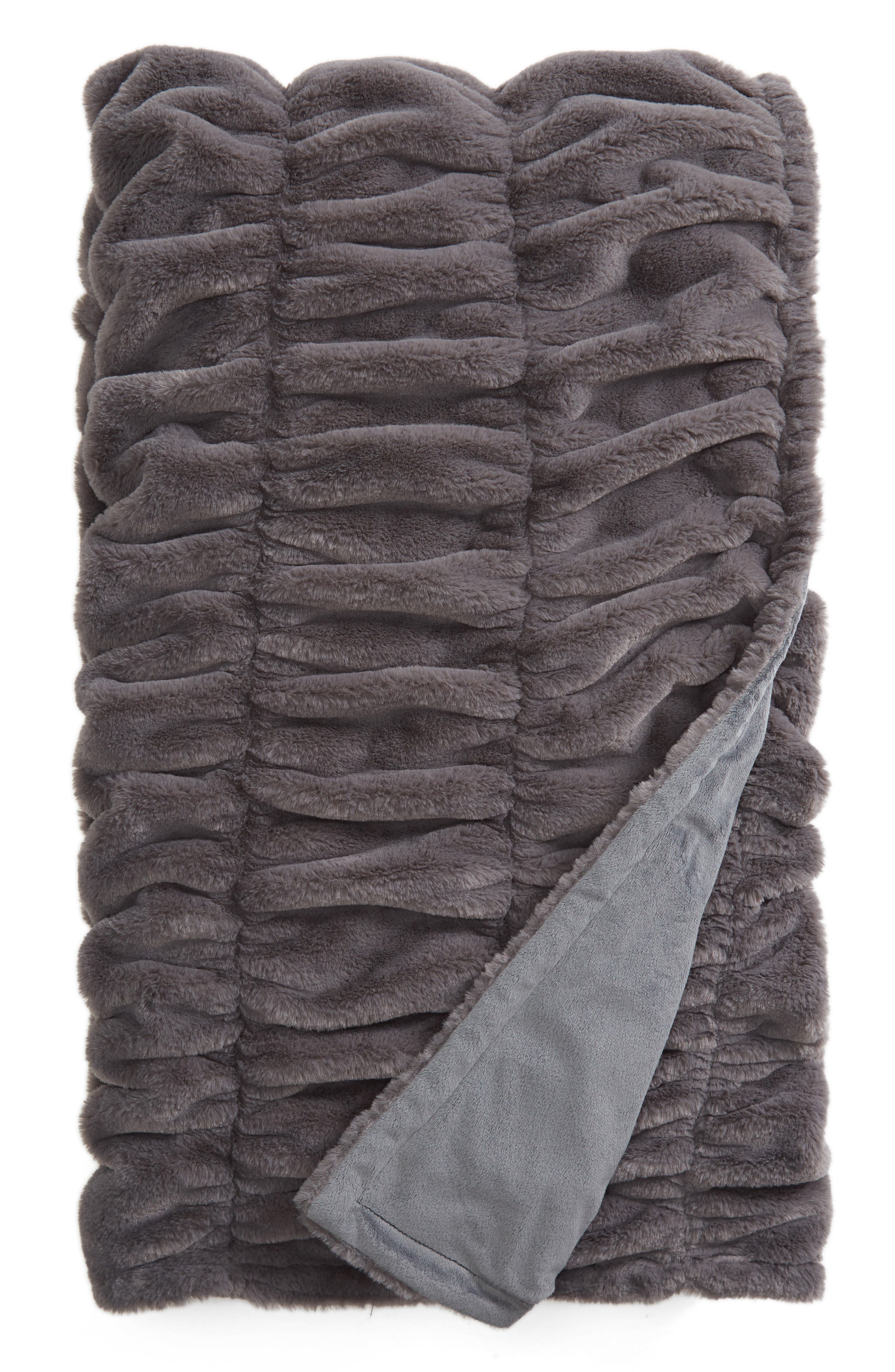 Ruched Faux Fur Throw Blanket,                         Main,                         color, 020