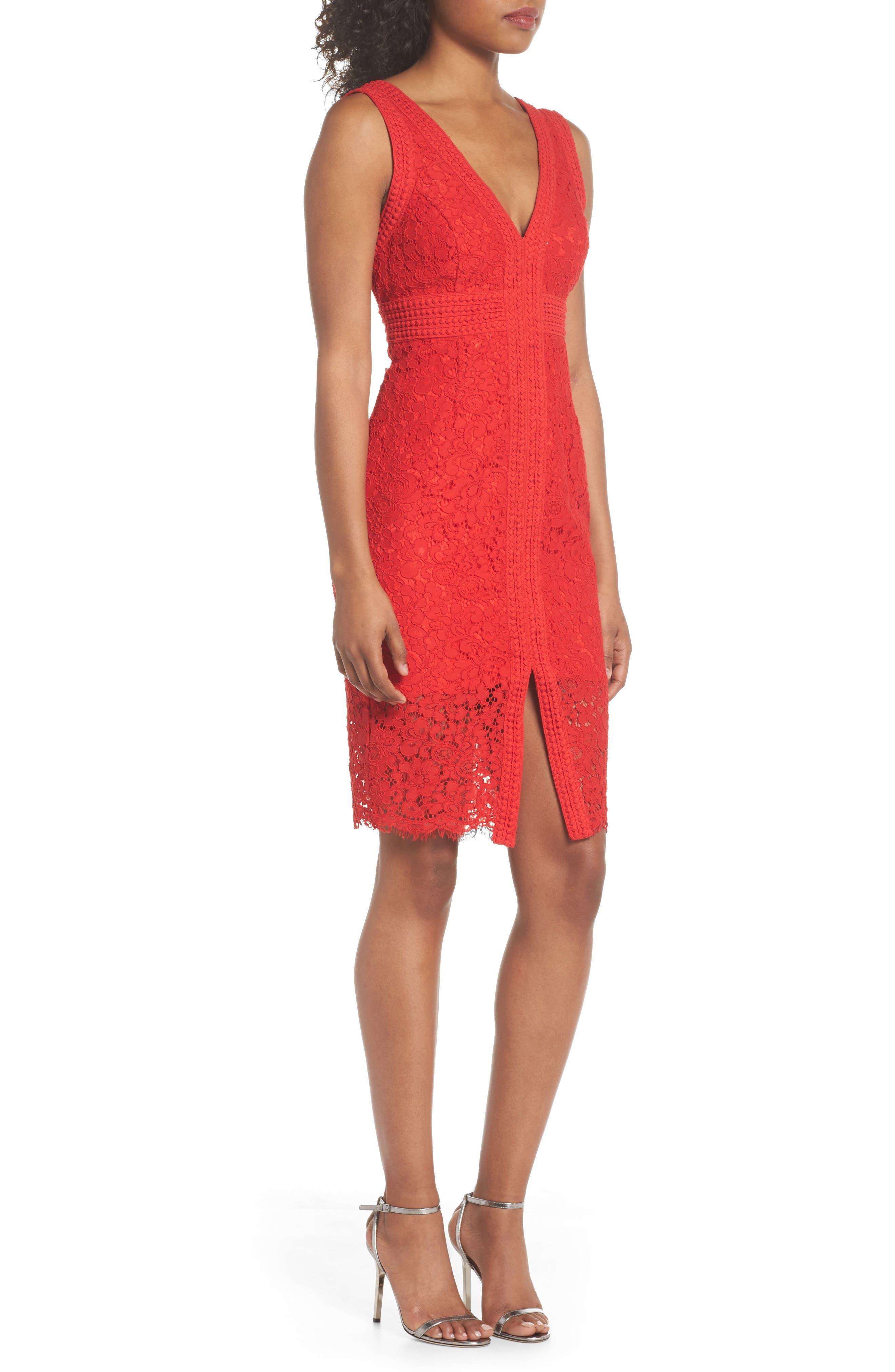 Morgan Front Slit Lace Sheath Dress,                             Alternate thumbnail 3, color,                             LIPSTICK
