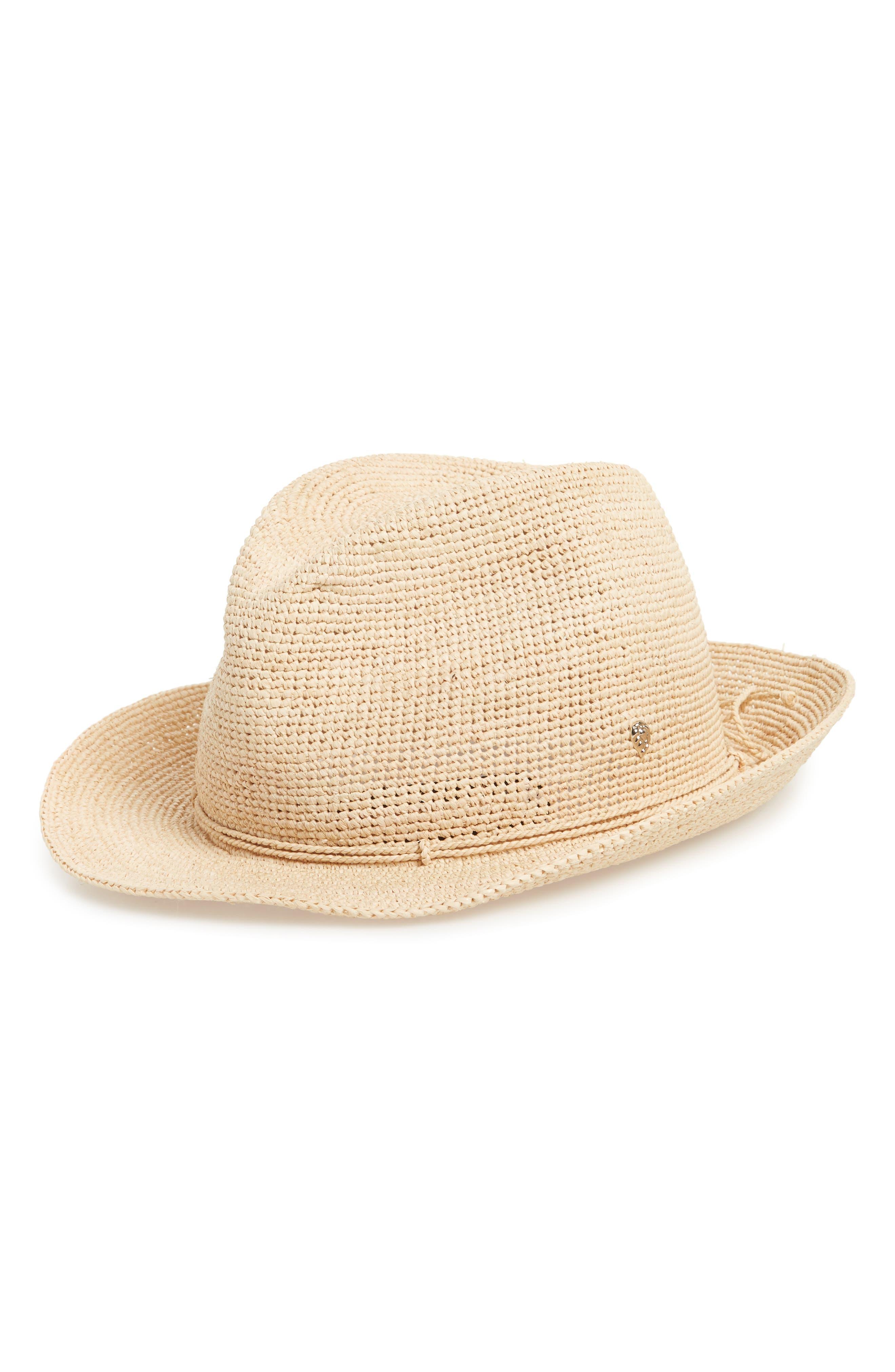 Raffia Crochet Packable Sun Hat,                             Main thumbnail 1, color,                             NATURAL