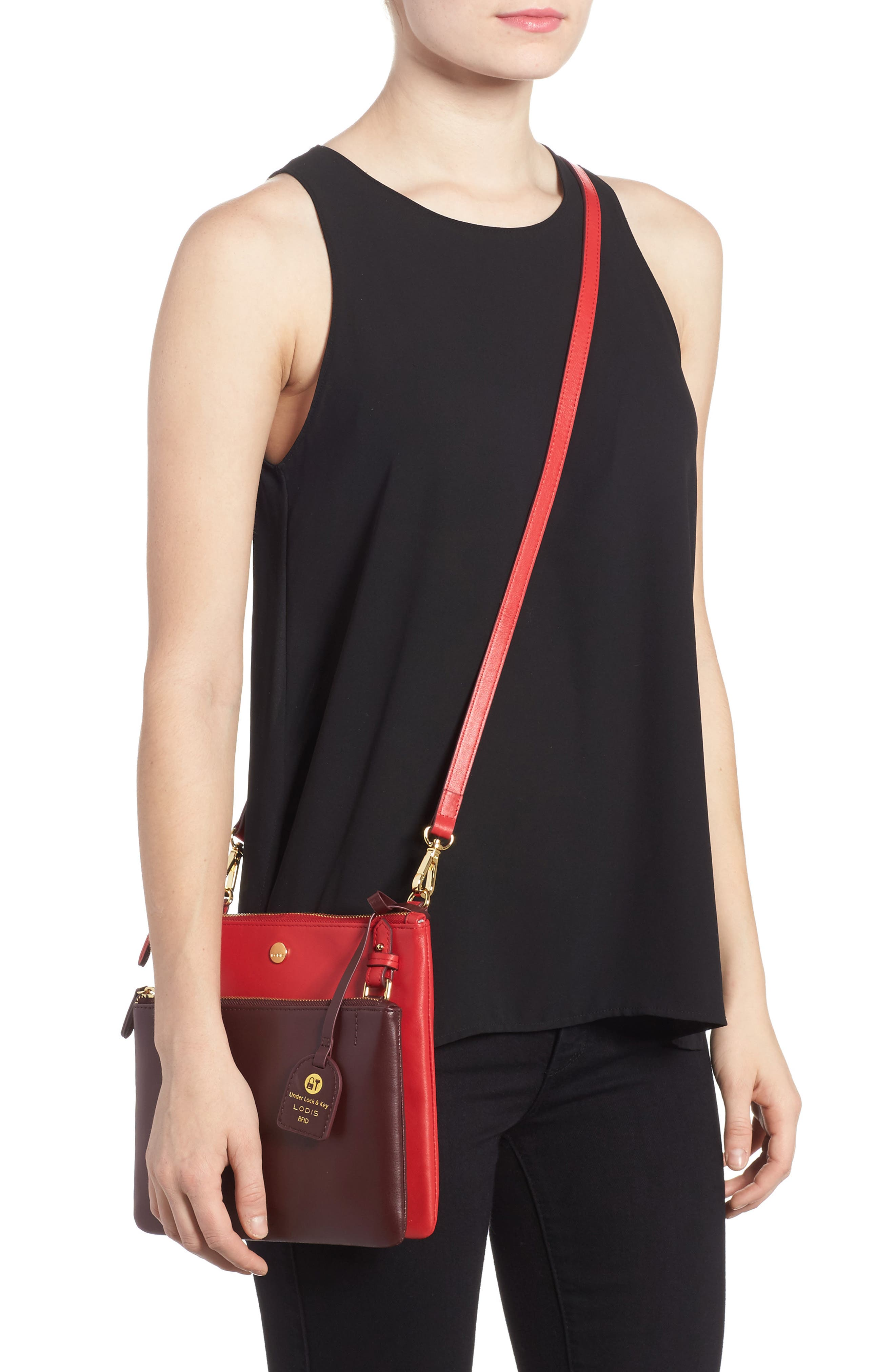 Downtown Latisha RFID Leather Crossbody,                             Alternate thumbnail 6, color,