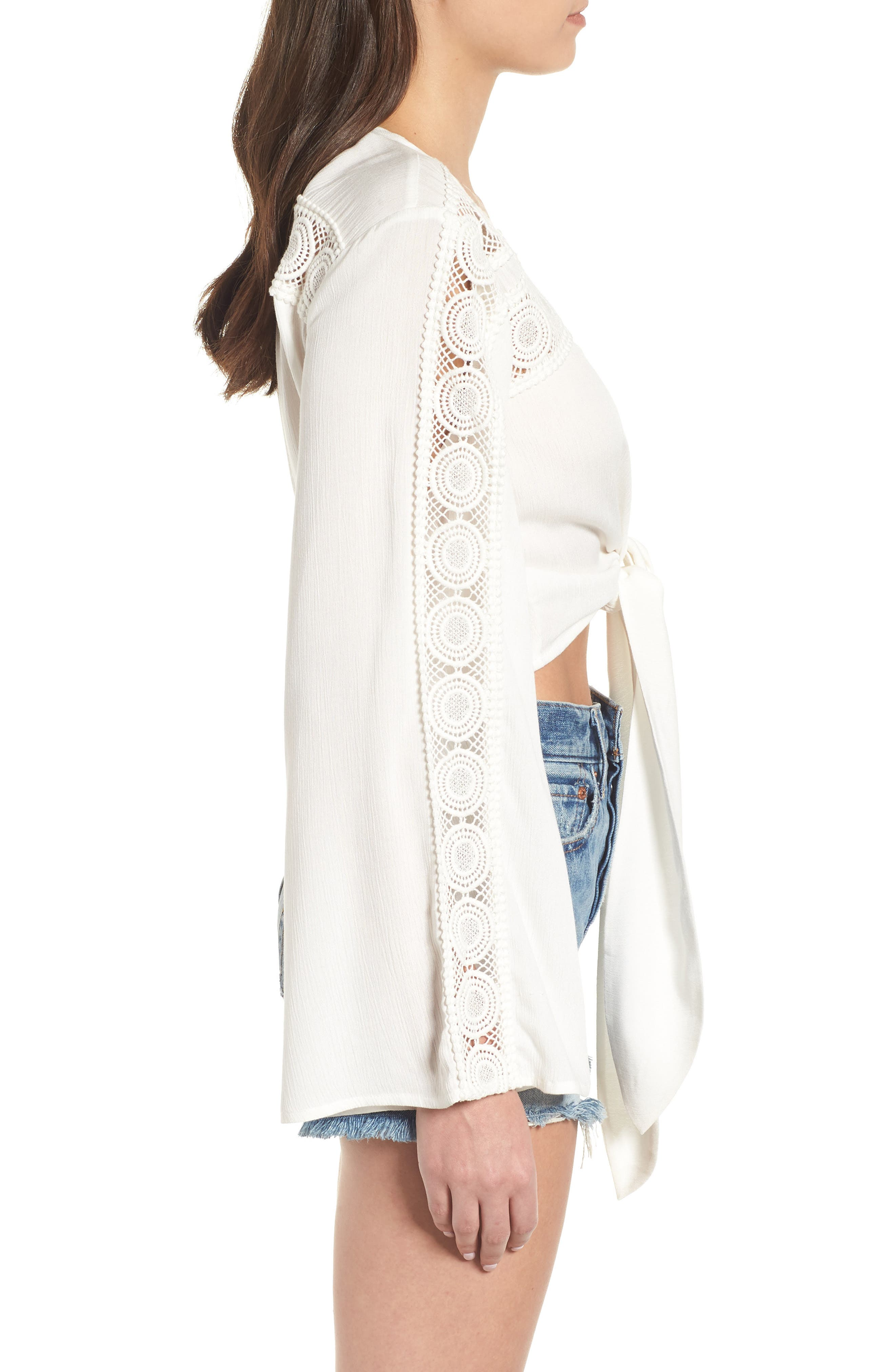 Tie Front Crop Top,                             Alternate thumbnail 3, color,                             IVORY