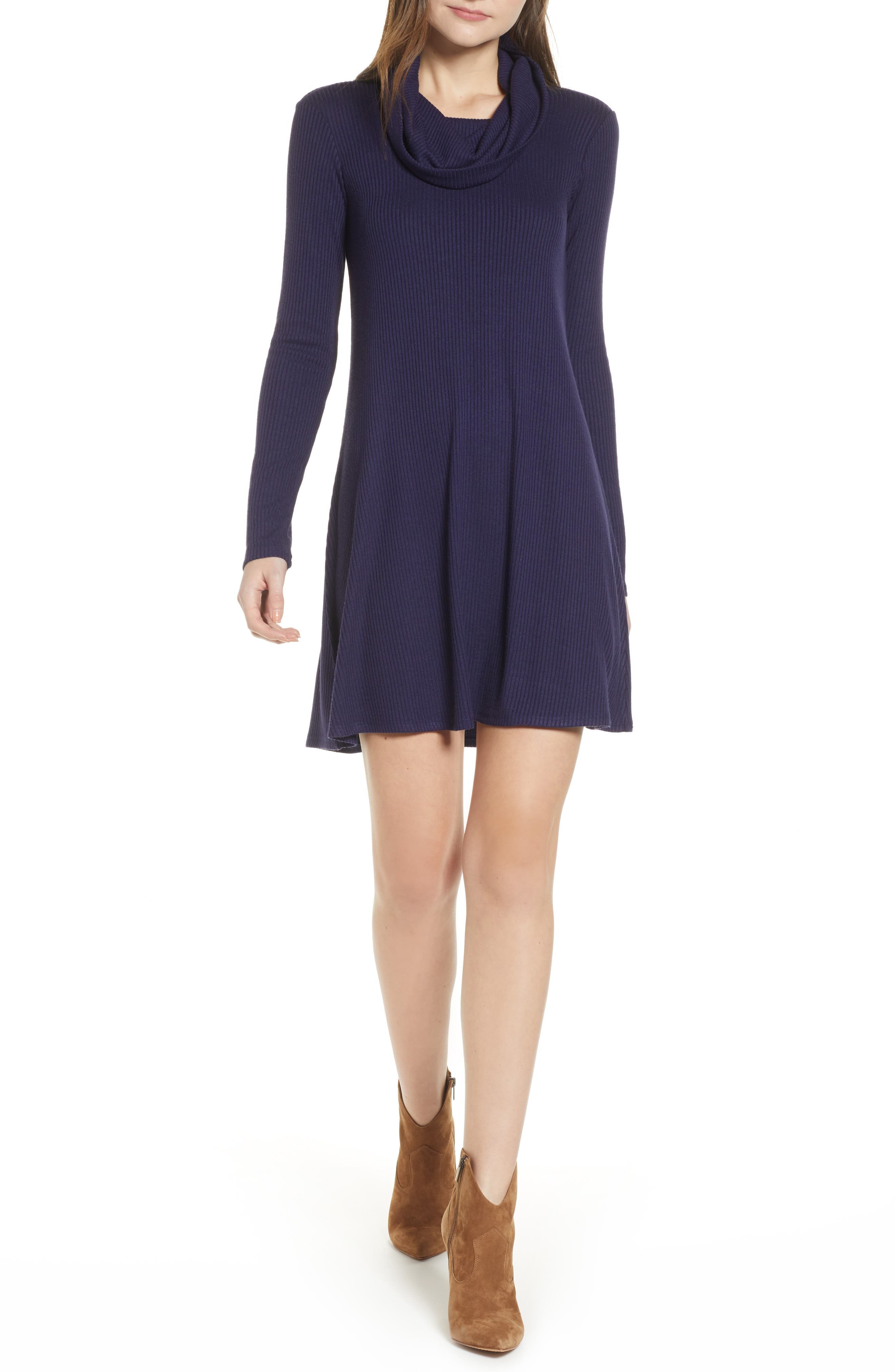 Socialite Maddie Cowl Neck Swing Dress, Blue