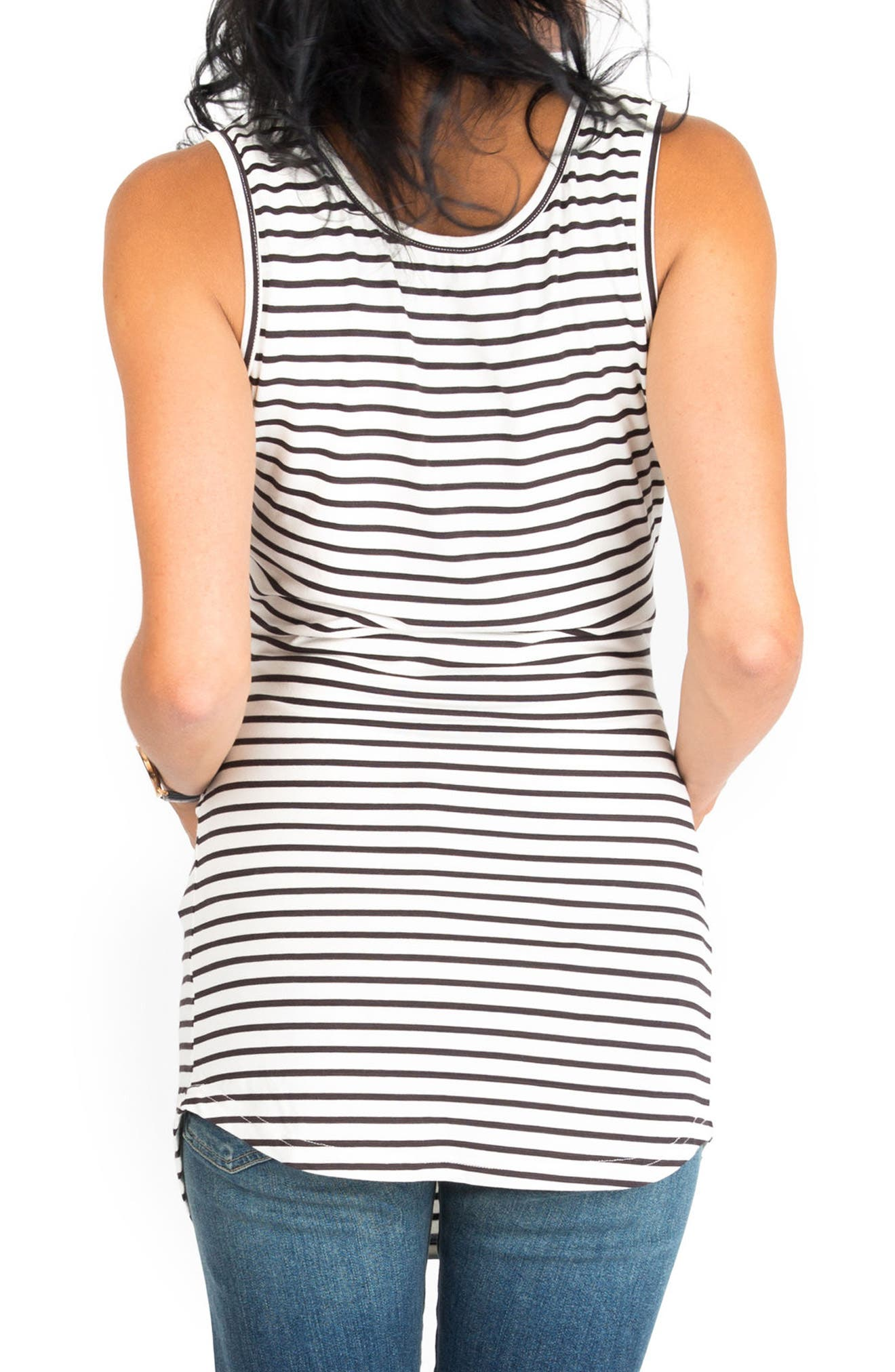 'Joey' Ruched Maternity Tank,                             Alternate thumbnail 2, color,                             BLACK/ WHITE STRIPE
