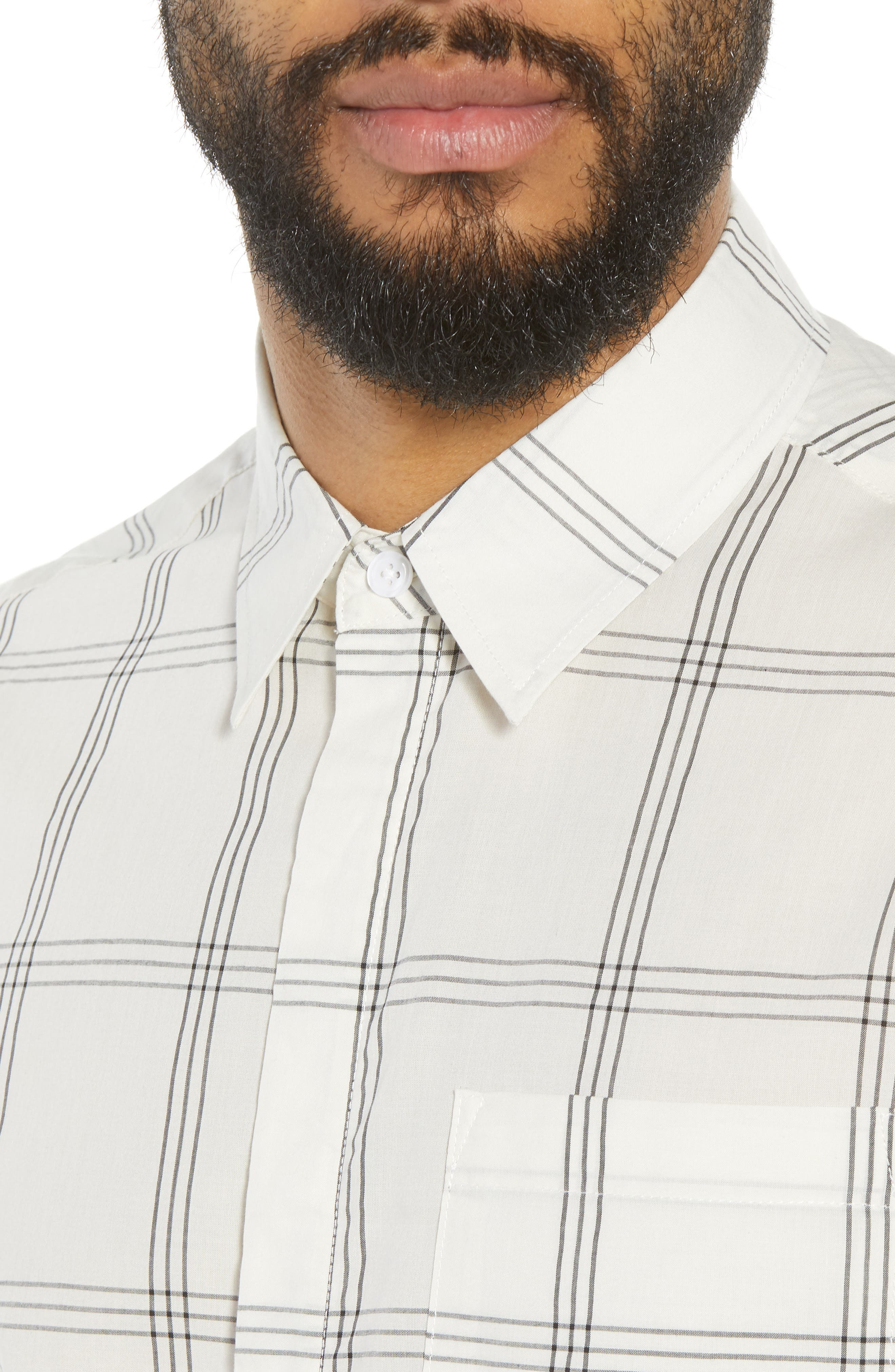 Mickey Windowpane Woven Shirt,                             Alternate thumbnail 4, color,                             WHITE