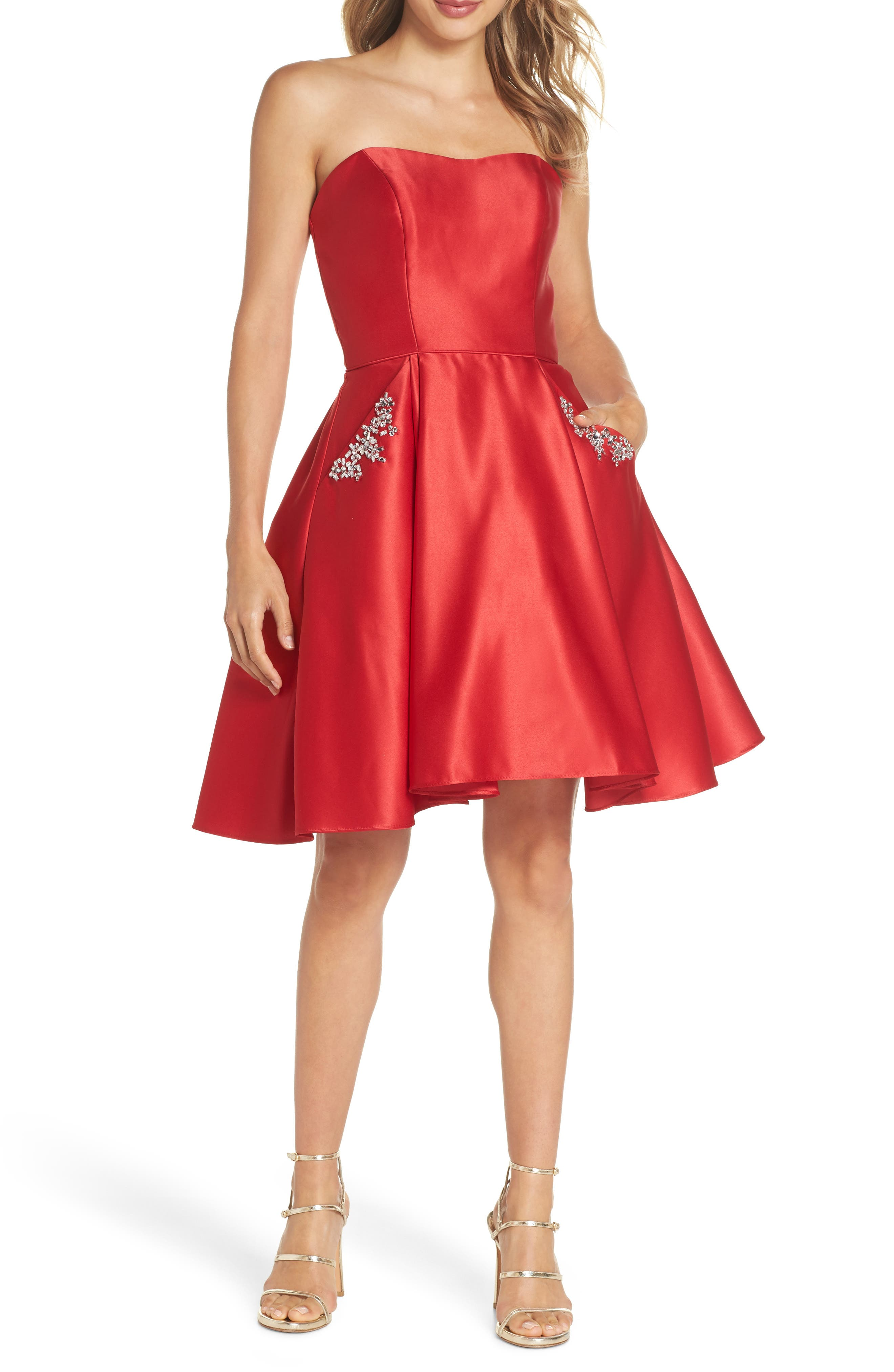 Strapless Satin Fit & Flare Party Dress,                             Main thumbnail 1, color,                             RED