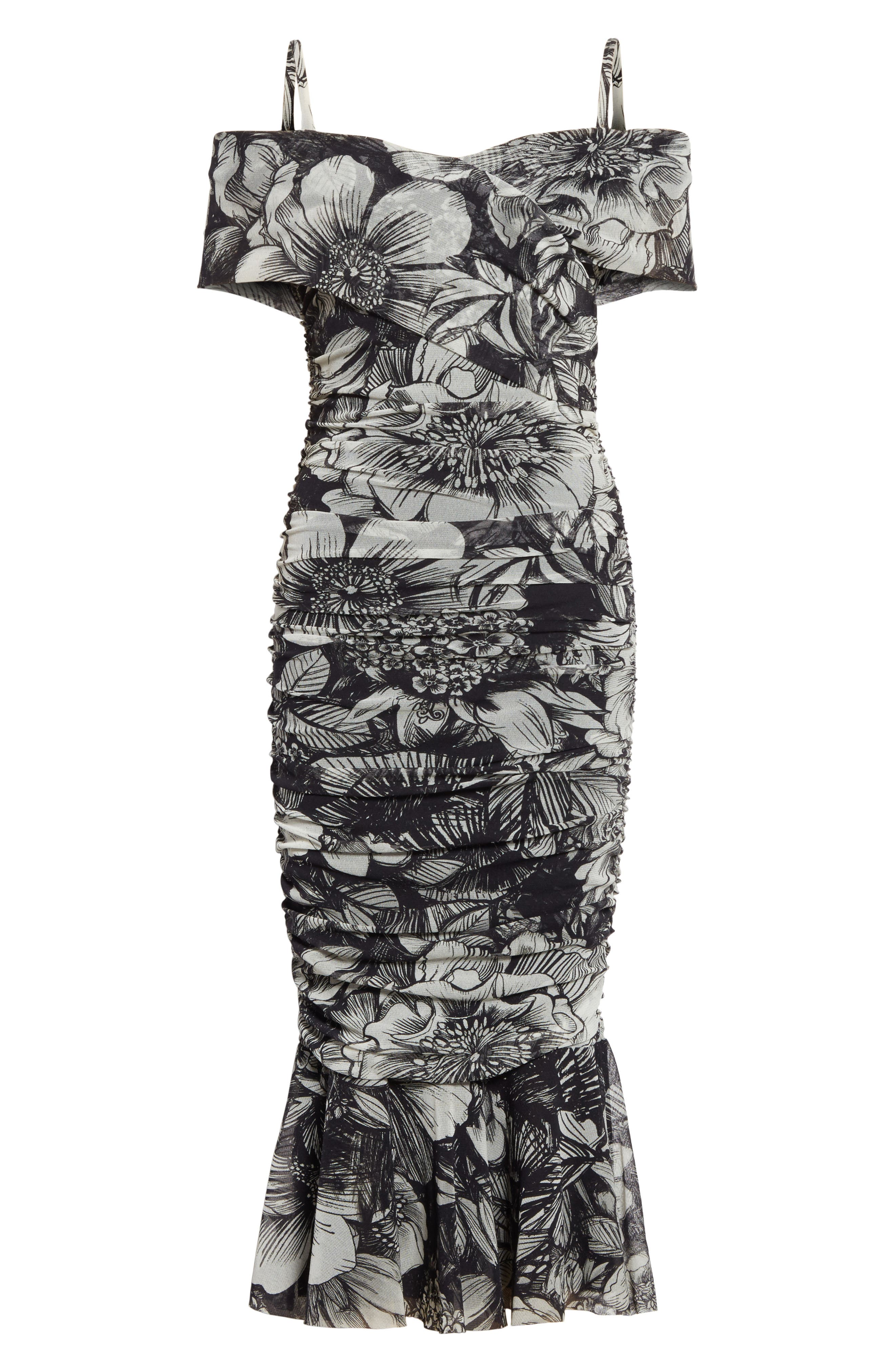 Print Tulle Ruched Off the Shoulder Dress,                             Alternate thumbnail 6, color,                             001