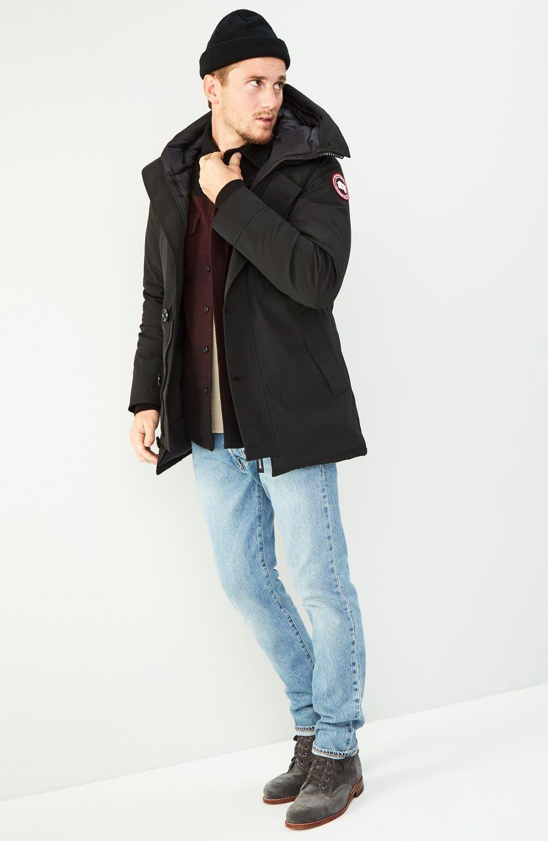 'Chateau' Slim Fit Genuine Coyote Fur Trim Jacket,                             Alternate thumbnail 6, color,                             021