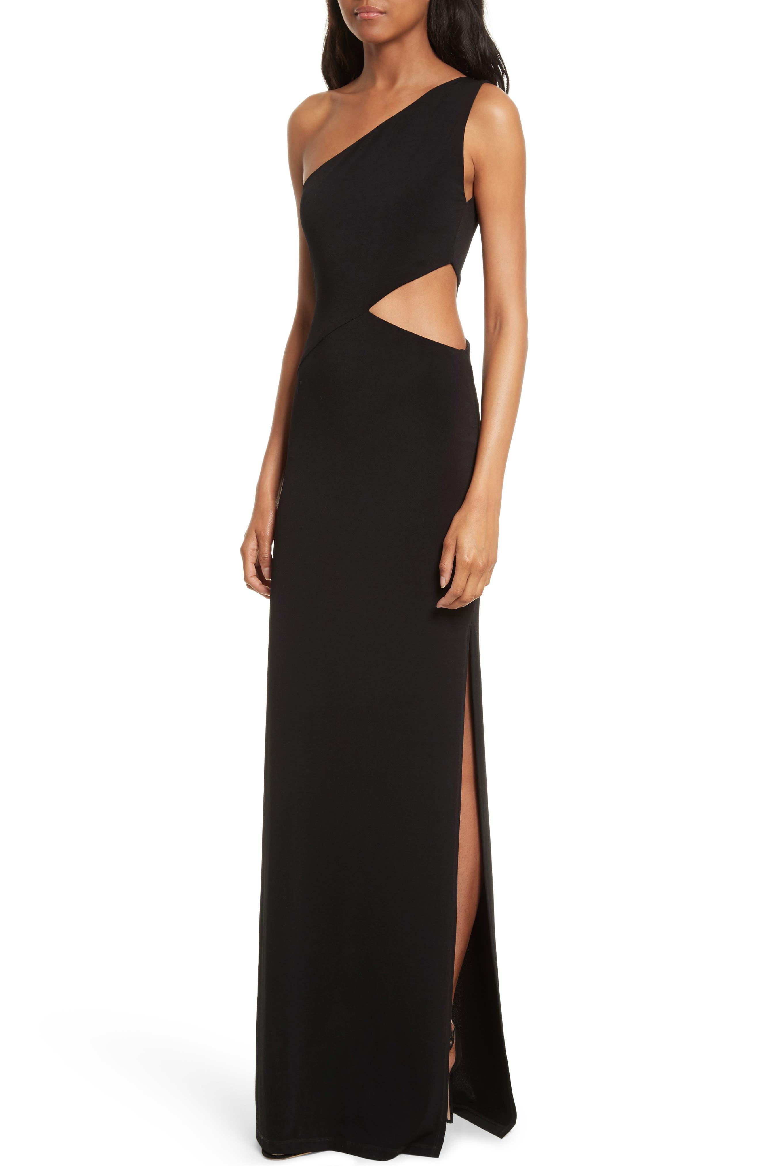Malia Cutout One-Shoulder Maxi Dress,                             Alternate thumbnail 4, color,                             001