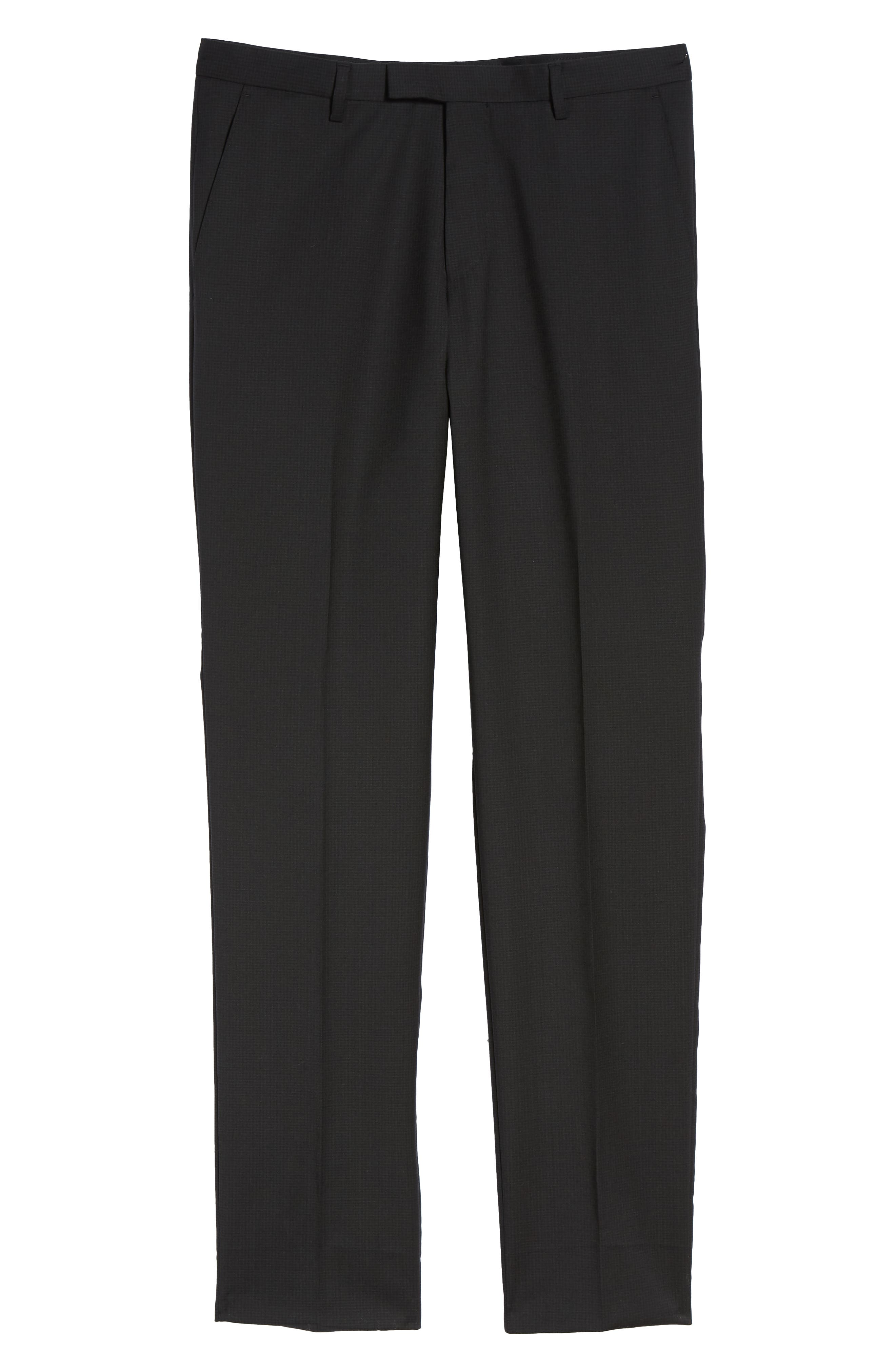 Leenon Flat Front Check Wool Trousers,                             Alternate thumbnail 6, color,                             BLACK