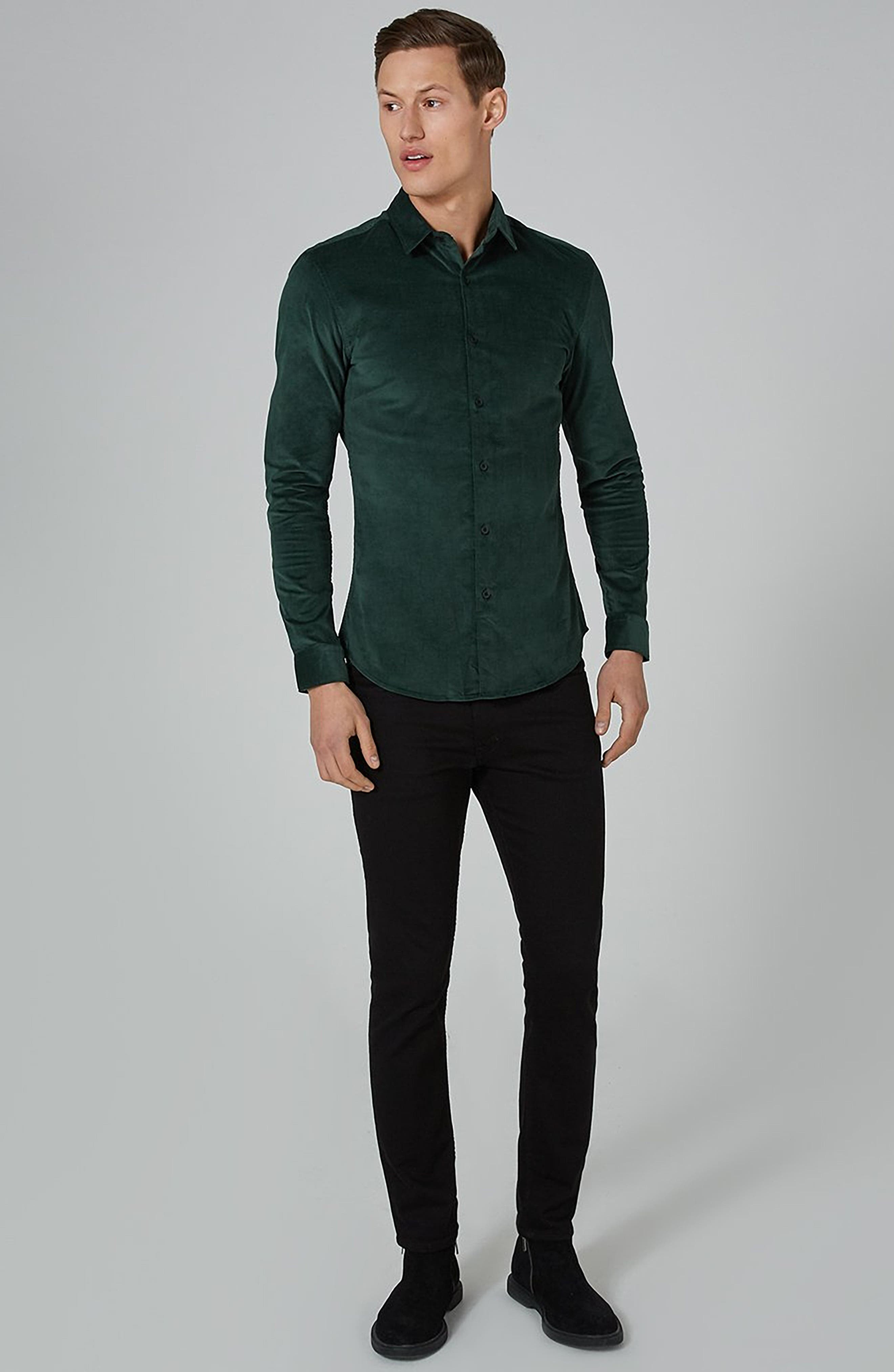 Muscle Fit Corduroy Shirt,                             Alternate thumbnail 5, color,                             GREEN