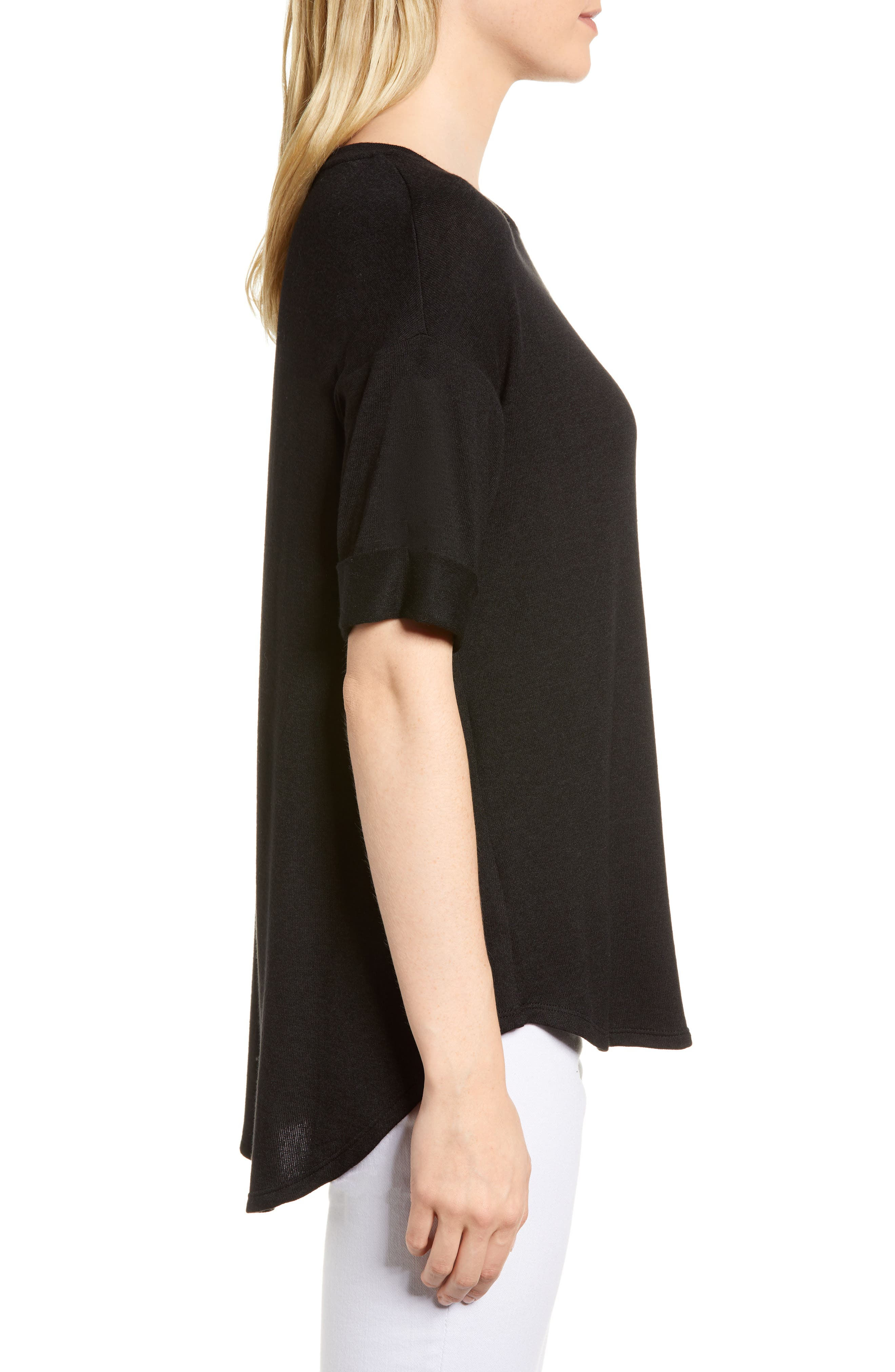 High/Low Short Sleeve Top,                             Alternate thumbnail 3, color,                             001