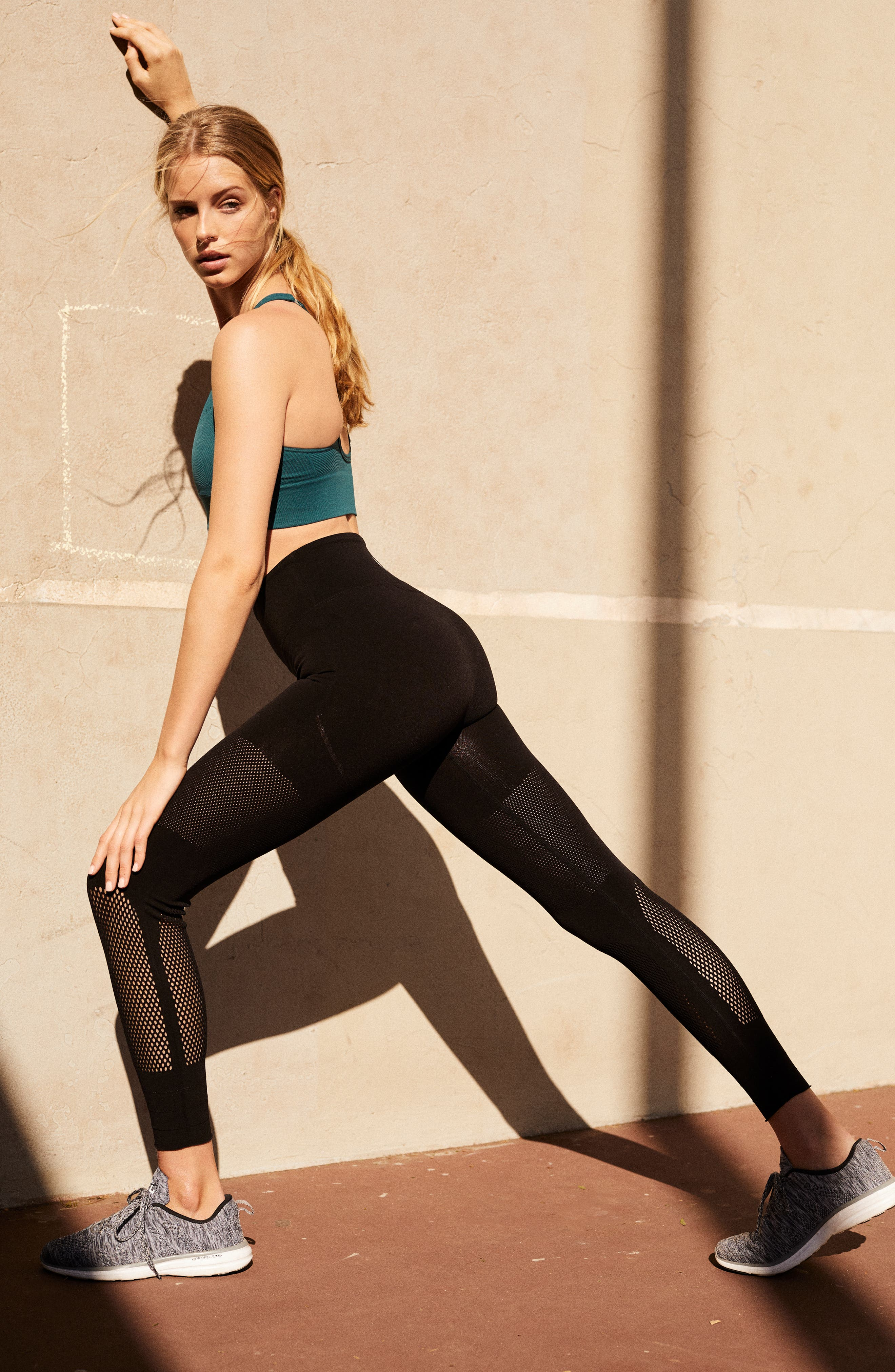 High Waist Mesh Leggings,                         Main,                         color, BLACK