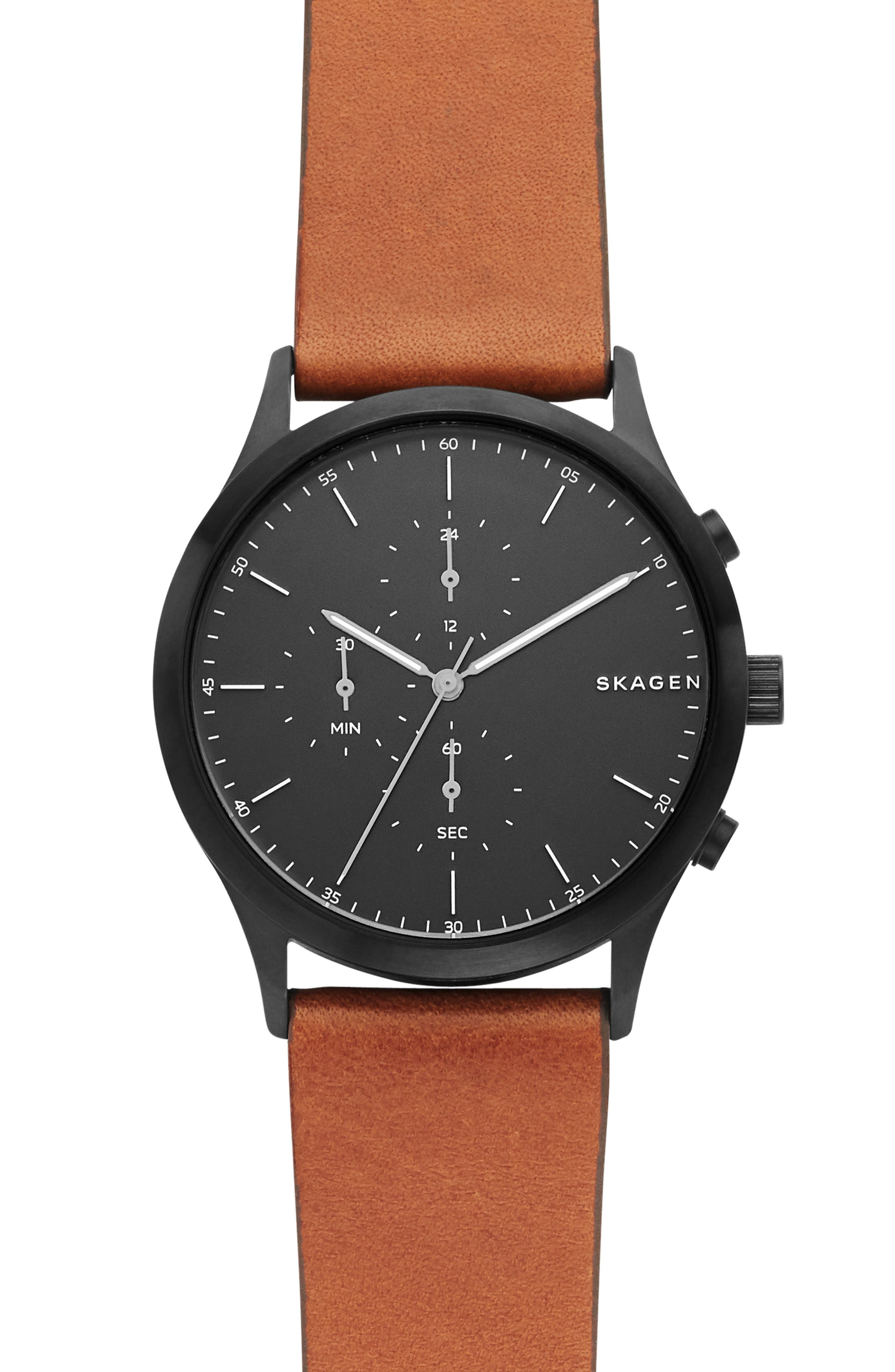 Jorn Chronograph Leather Strap Watch, 41mm, Main, color, BROWN/ BLACK