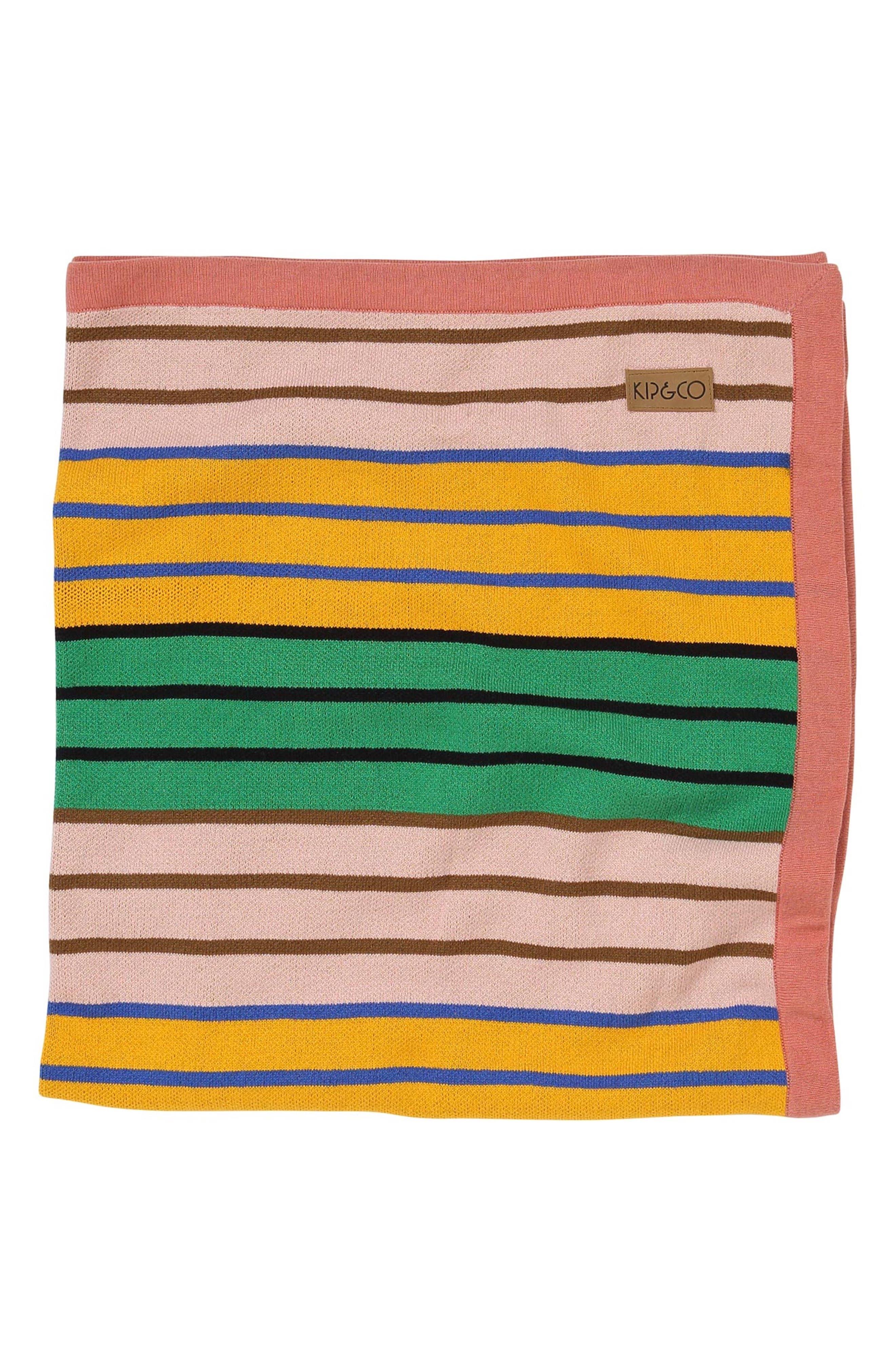 KIP&CO,                             Stripe Knit Cotton Blanket,                             Main thumbnail 1, color,                             300