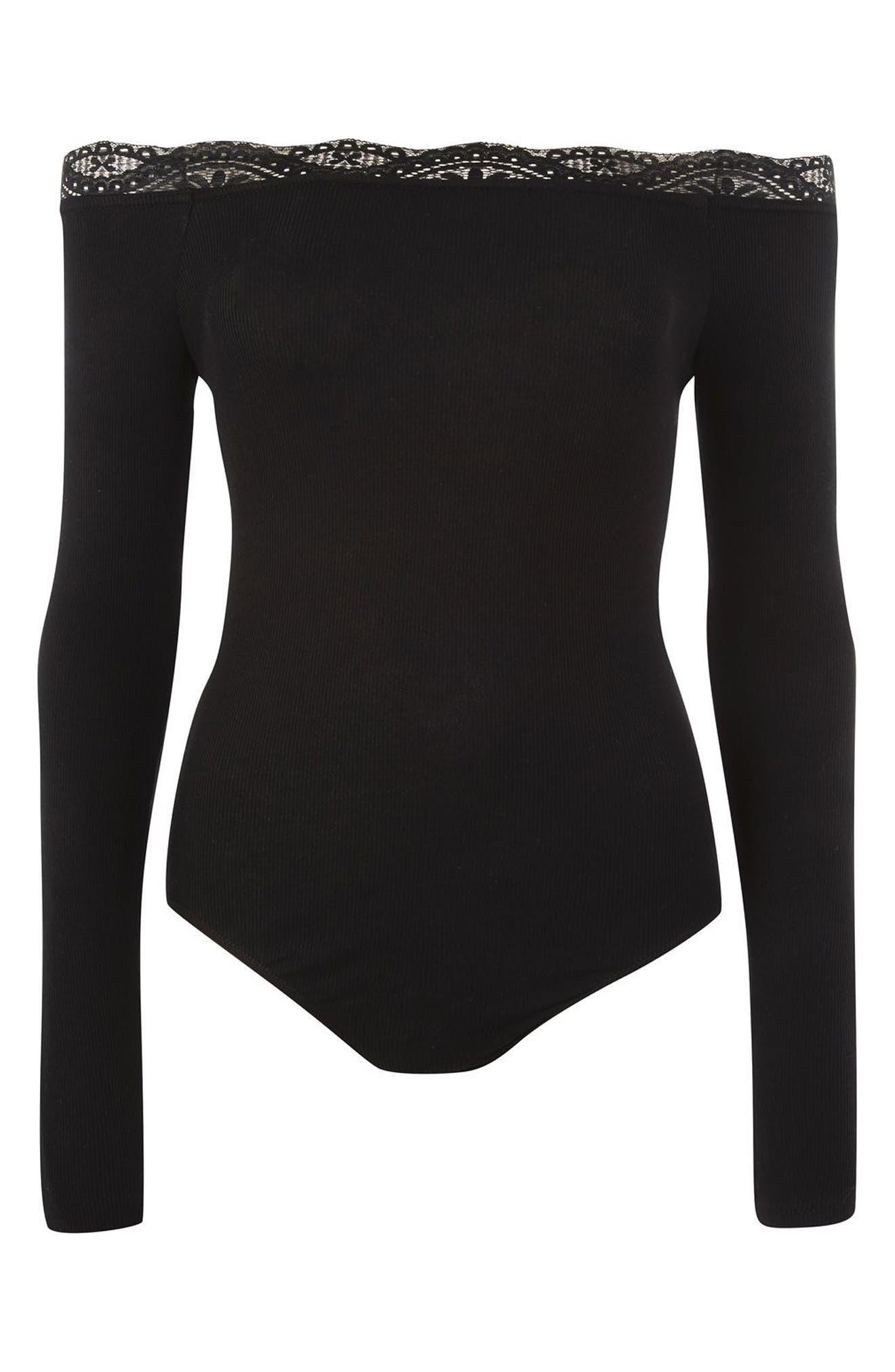 Lace Trim Off the Shoulder Bodysuit,                             Alternate thumbnail 7, color,