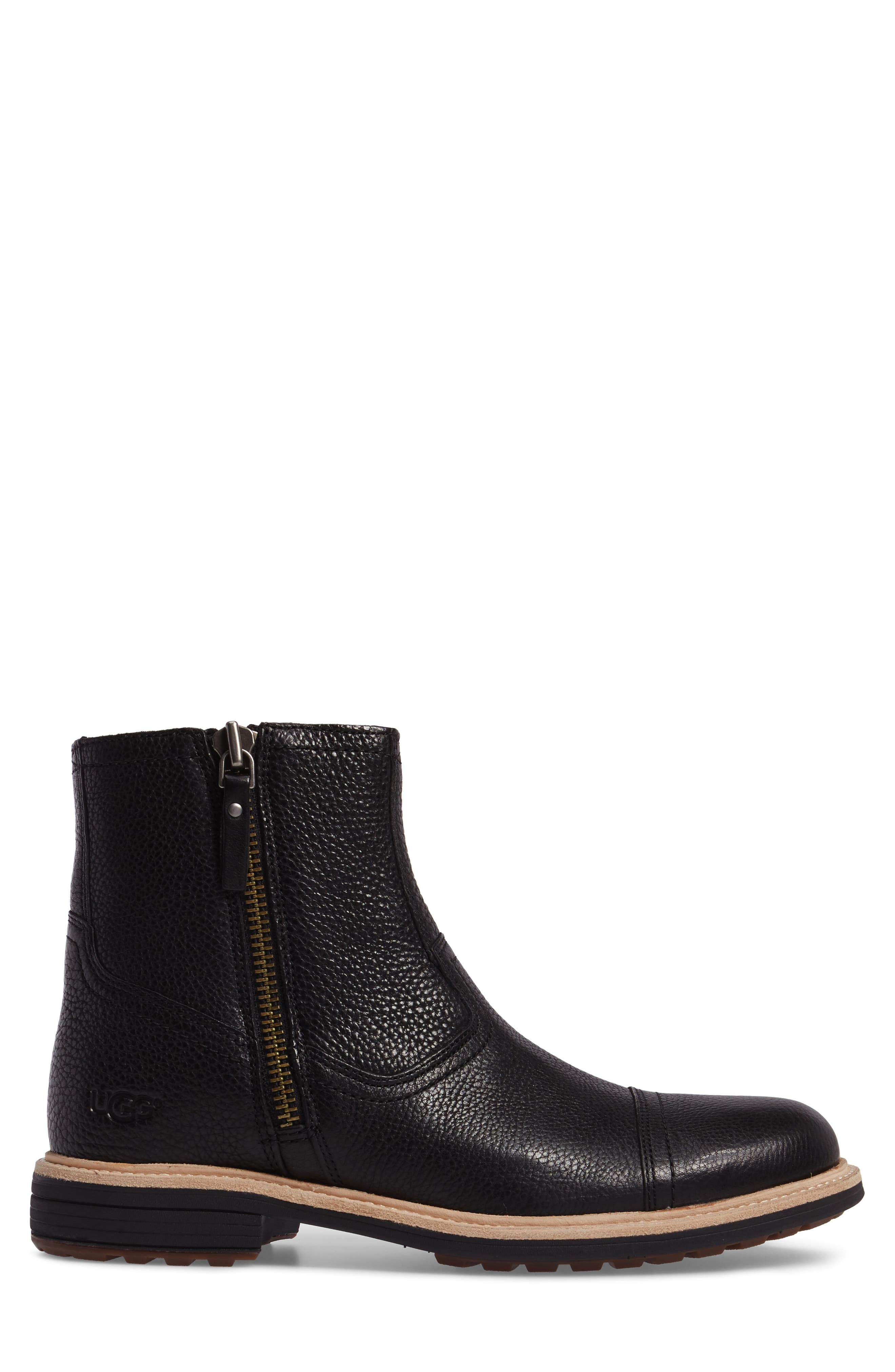 Dalvin Zip Boot with Genuine Shearling,                             Alternate thumbnail 3, color,                             BLACK