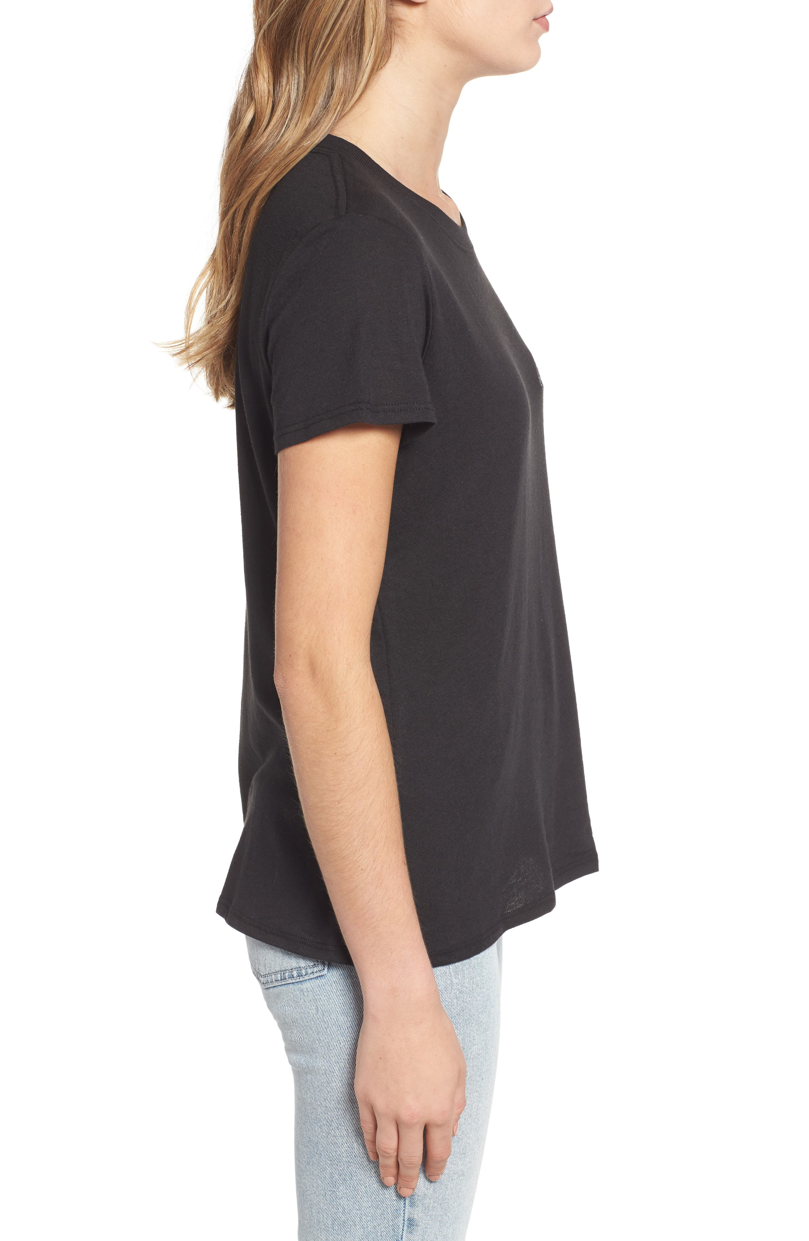 Little Black Tee Slouched Tee,                             Alternate thumbnail 3, color,                             001