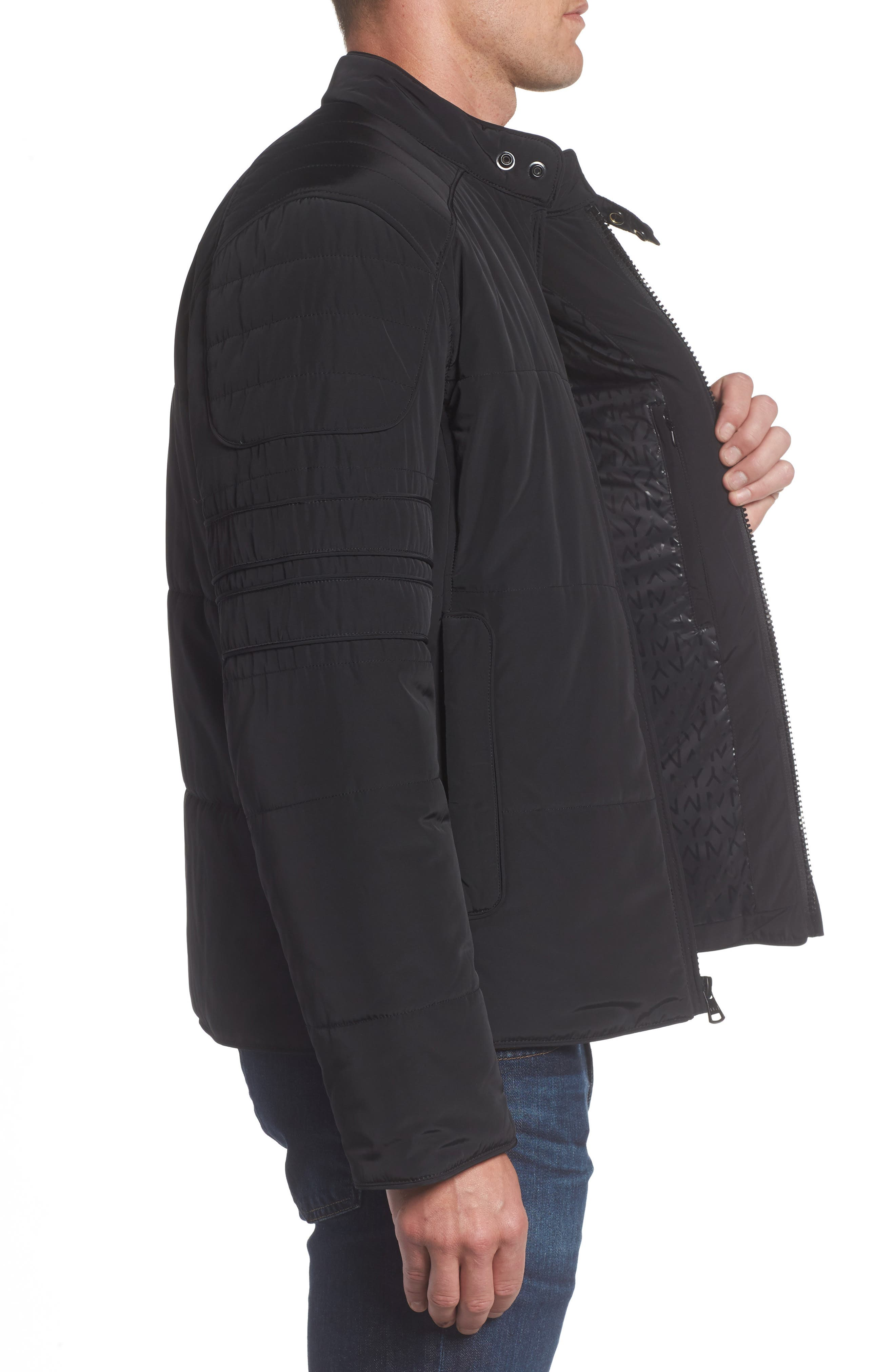 Quilted Moto Jacket,                             Alternate thumbnail 3, color,                             001