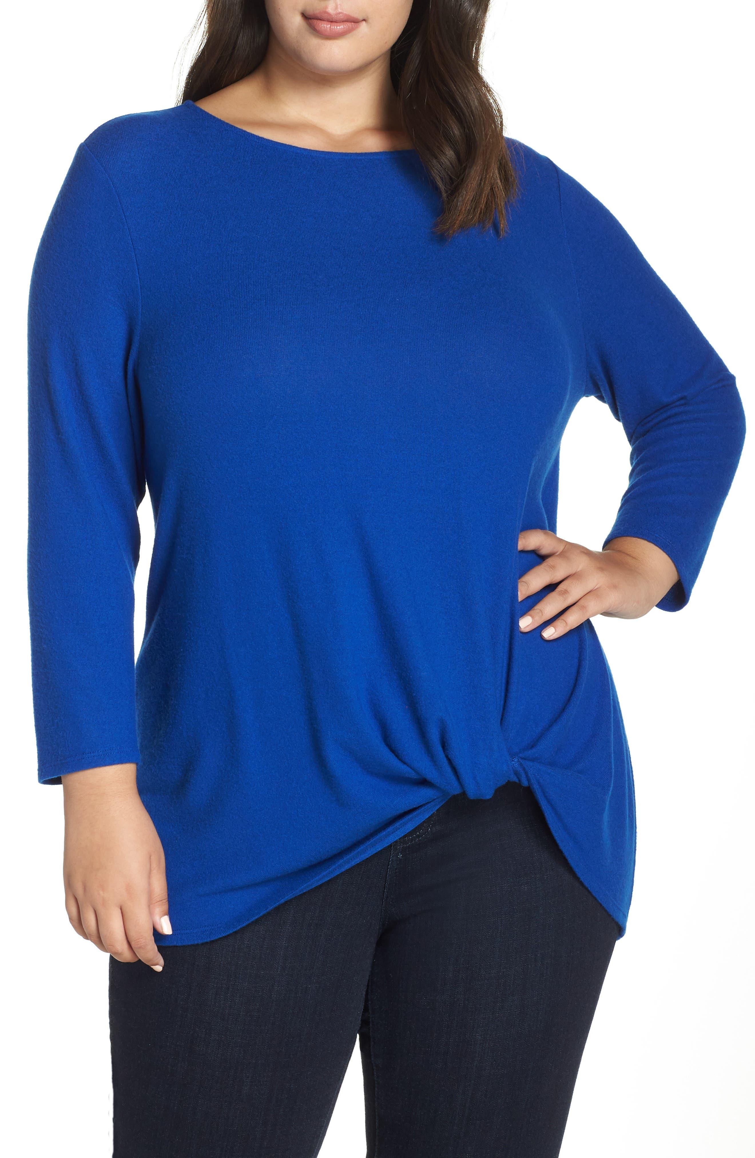 Twist Front Cozy Pullover,                             Main thumbnail 1, color,                             BLUE MAZE