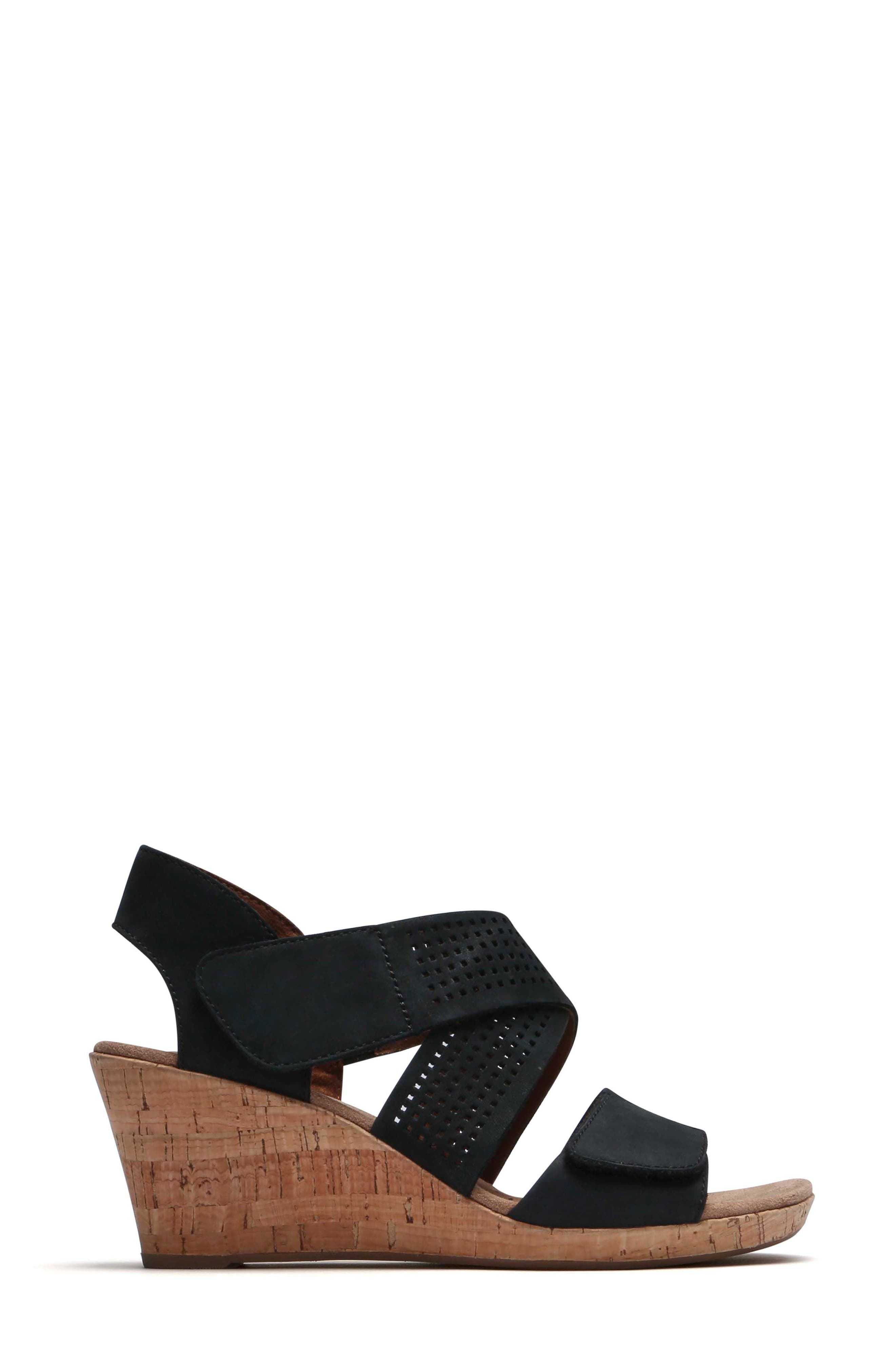 Janna Cross Strap Wedge Sandal,                             Alternate thumbnail 3, color,                             001