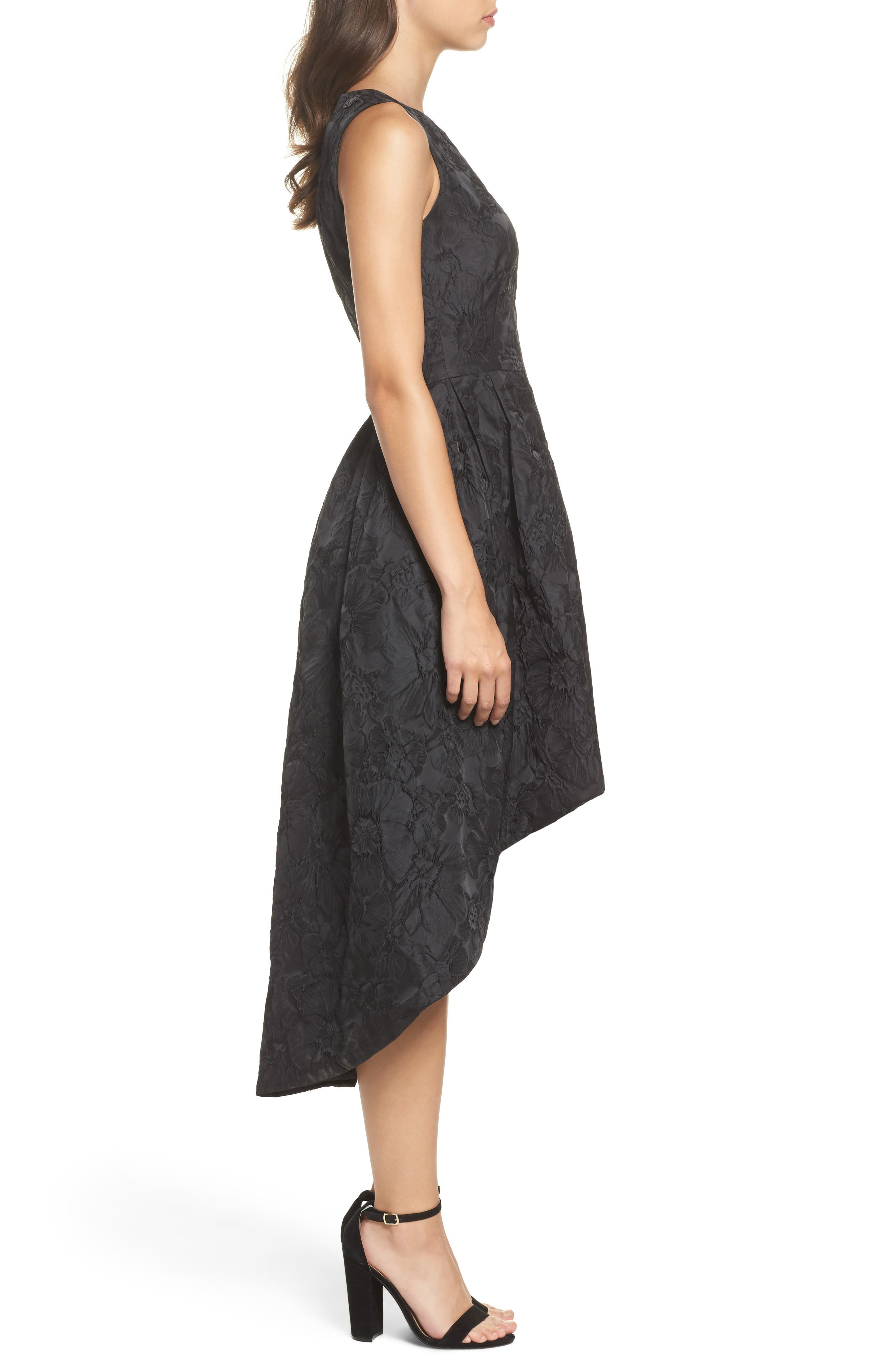 Forest Lily Jacquard High/Low Dress,                             Alternate thumbnail 3, color,                             001