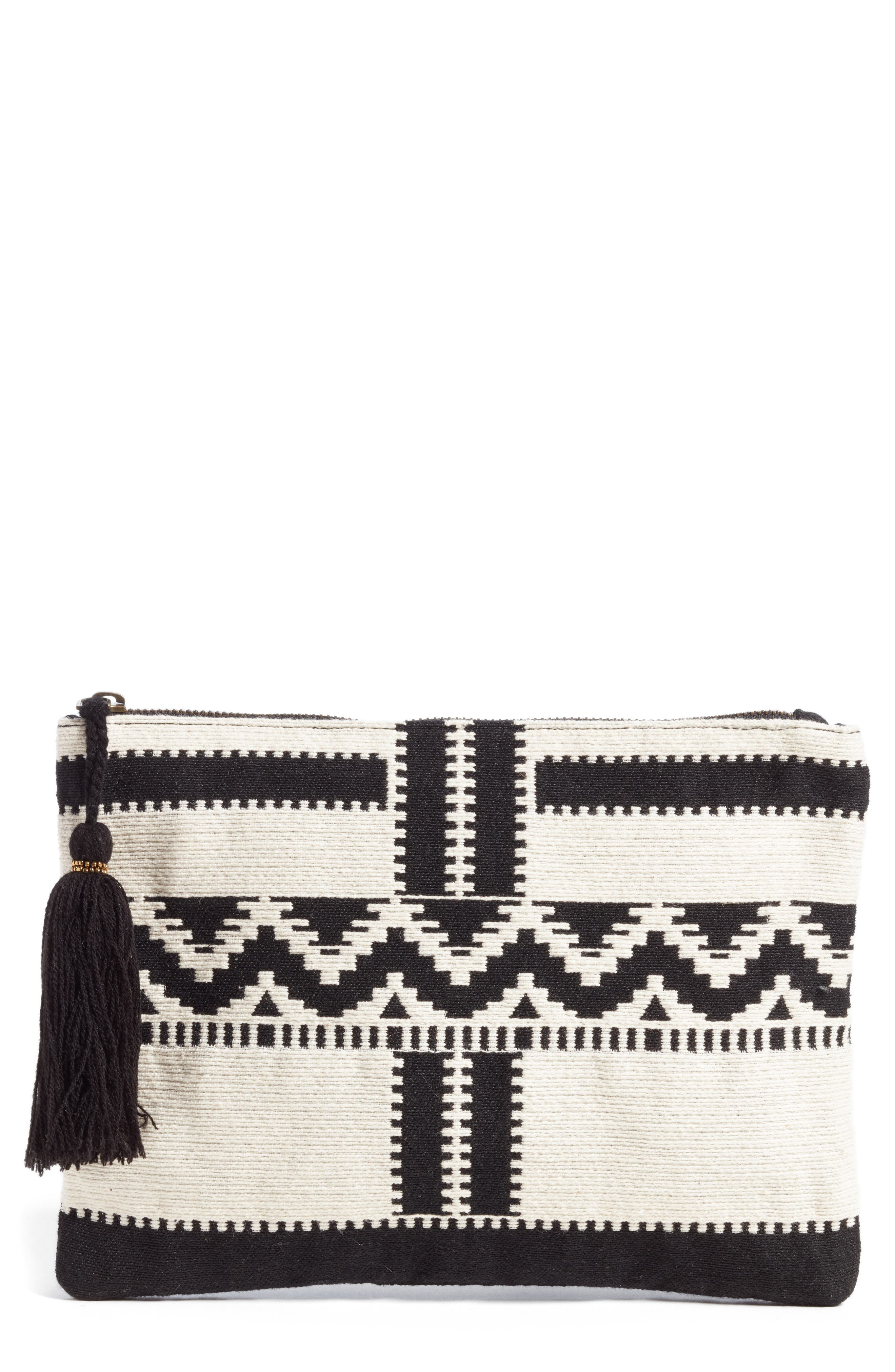 Take Me Back Woven Clutch,                         Main,                         color, 001