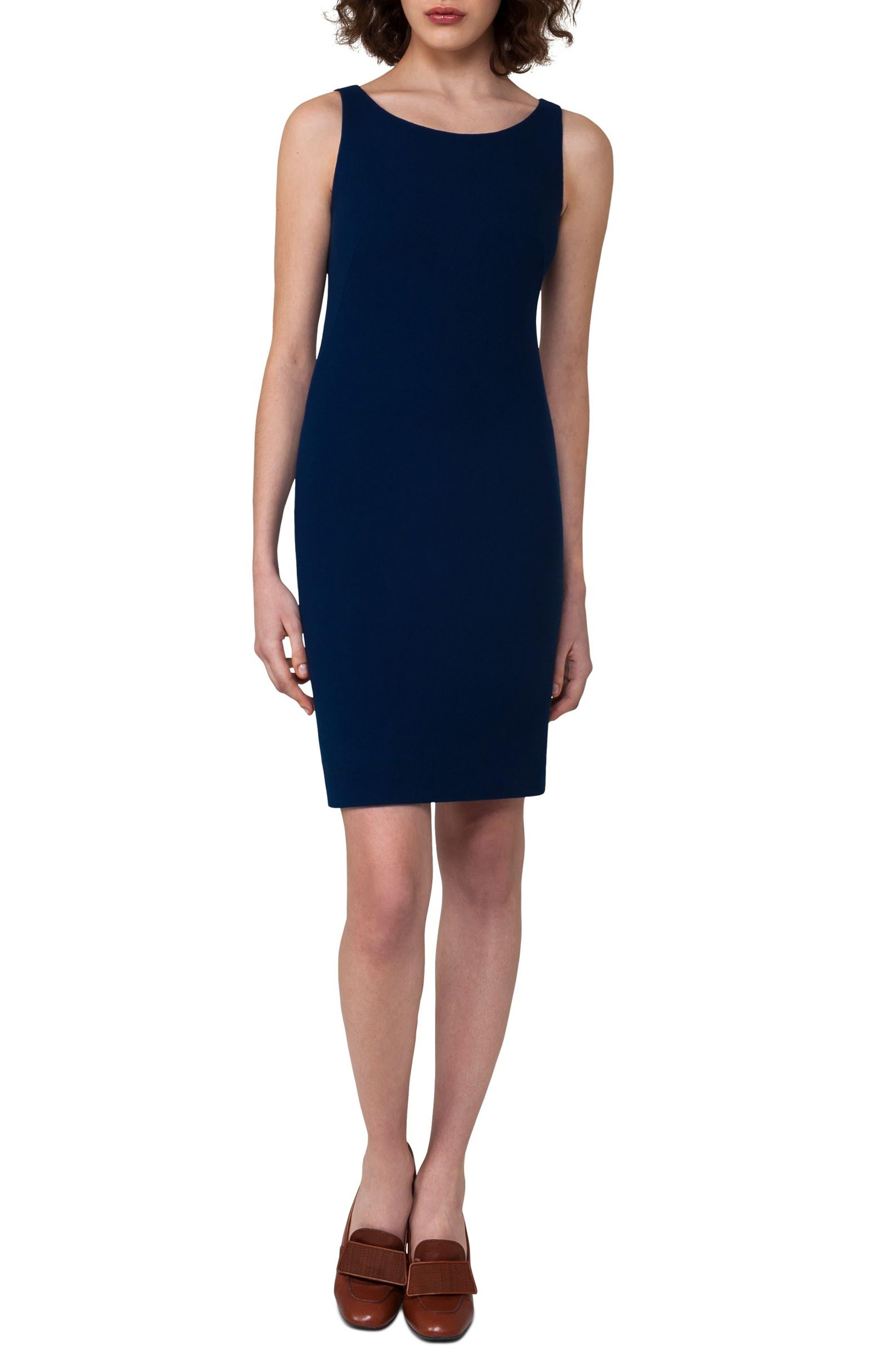 Double Face Wool Crepe Sheath Dress,                         Main,                         color, 400