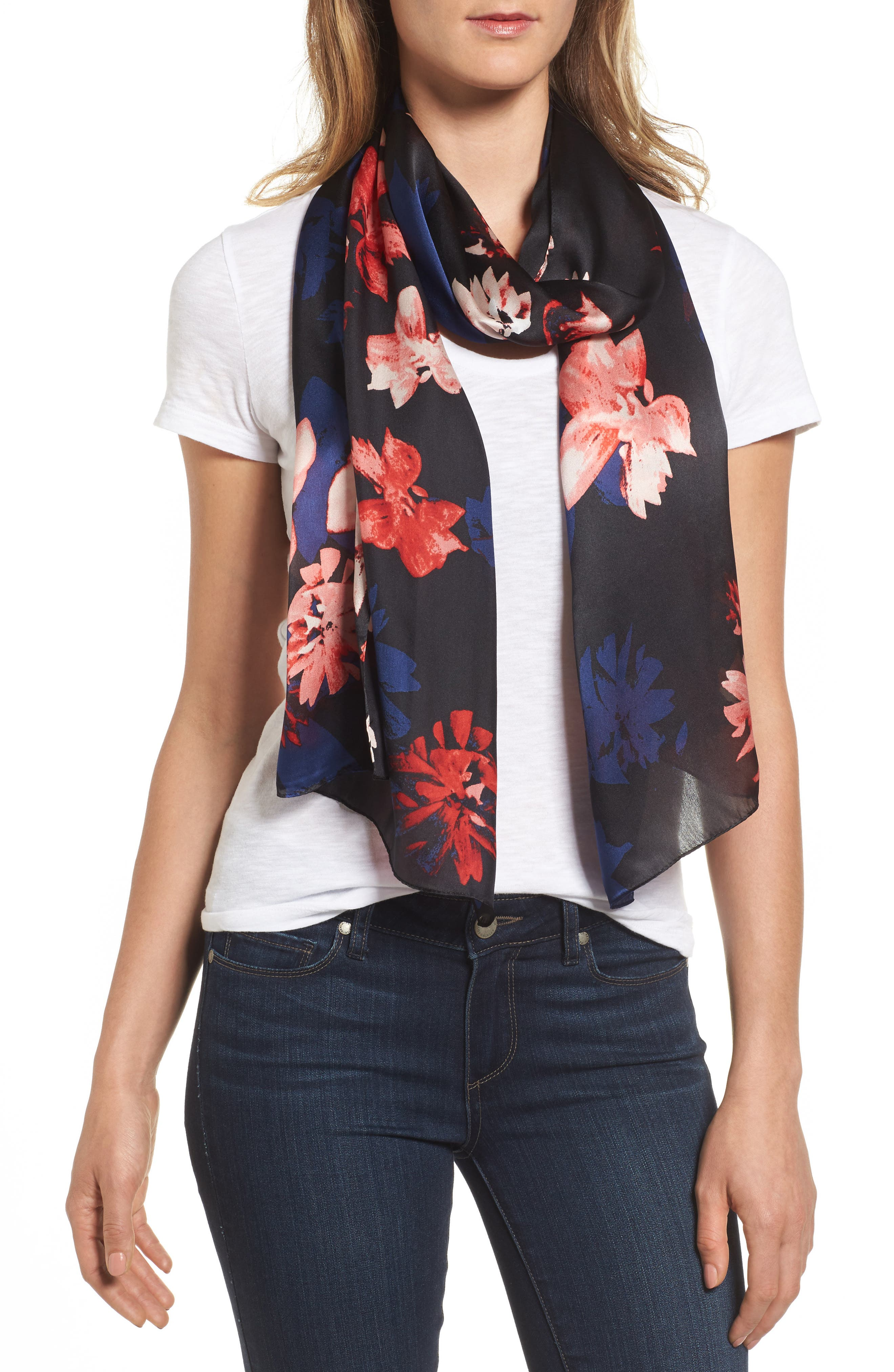 Floral Print Brushed Silk Scarf,                         Main,                         color, 001