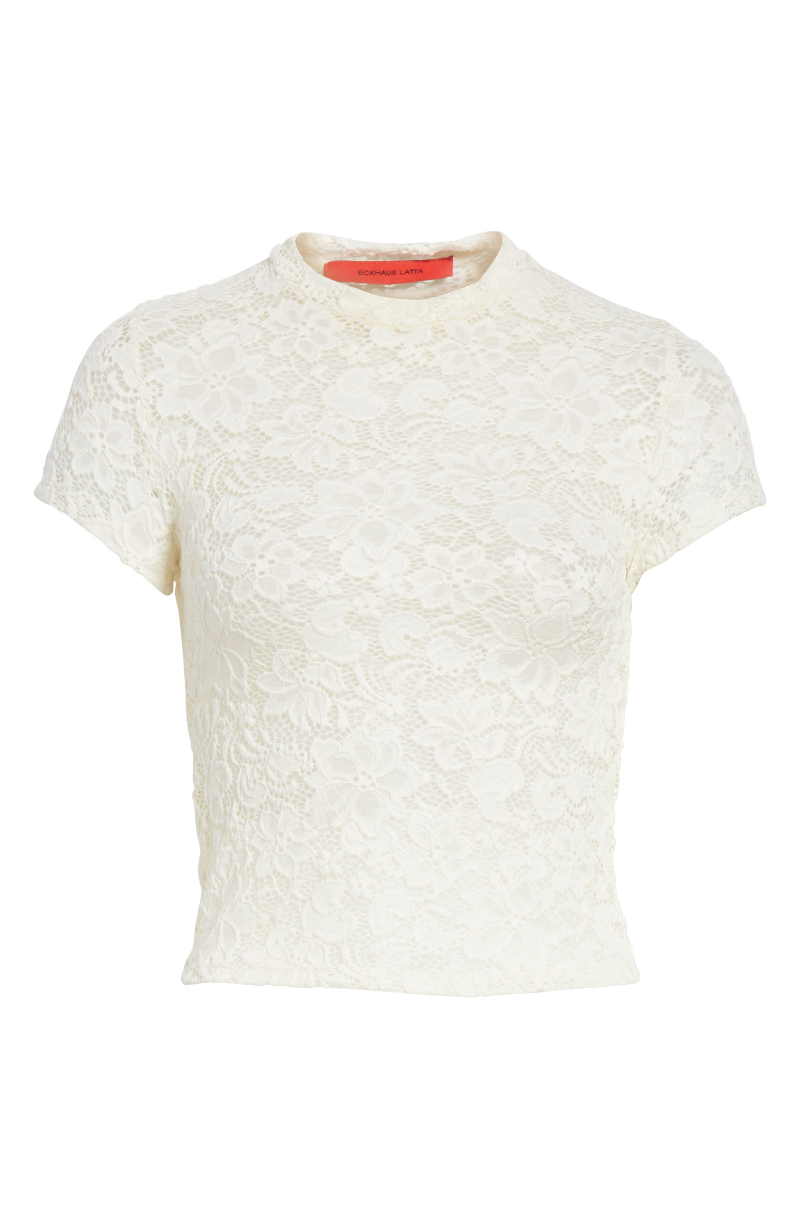 Dog God Stretch Lace Tee,                             Alternate thumbnail 6, color,                             100