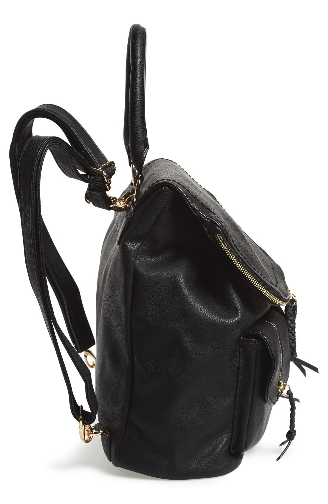 Emery Faux Leather Backpack,                             Alternate thumbnail 6, color,                             BLACK