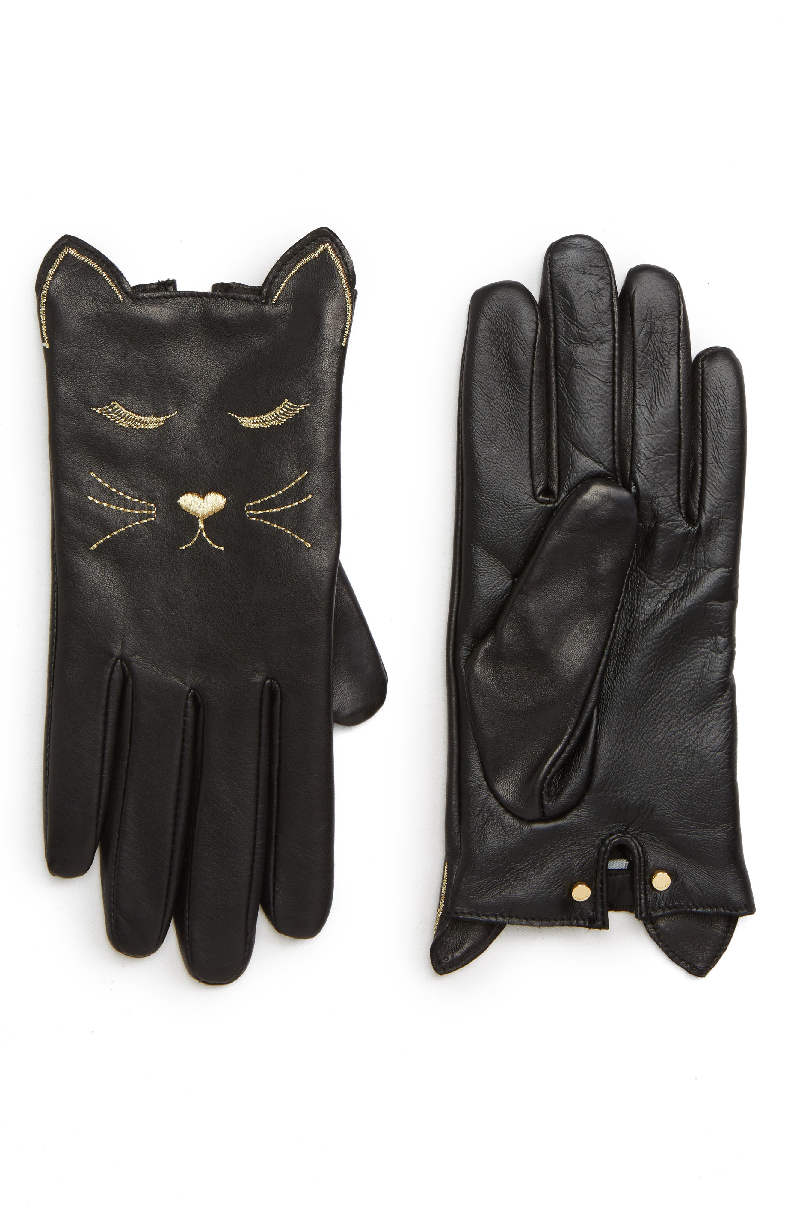 Cat Leather Touchscreen Gloves,                             Main thumbnail 1, color,                             BLACK
