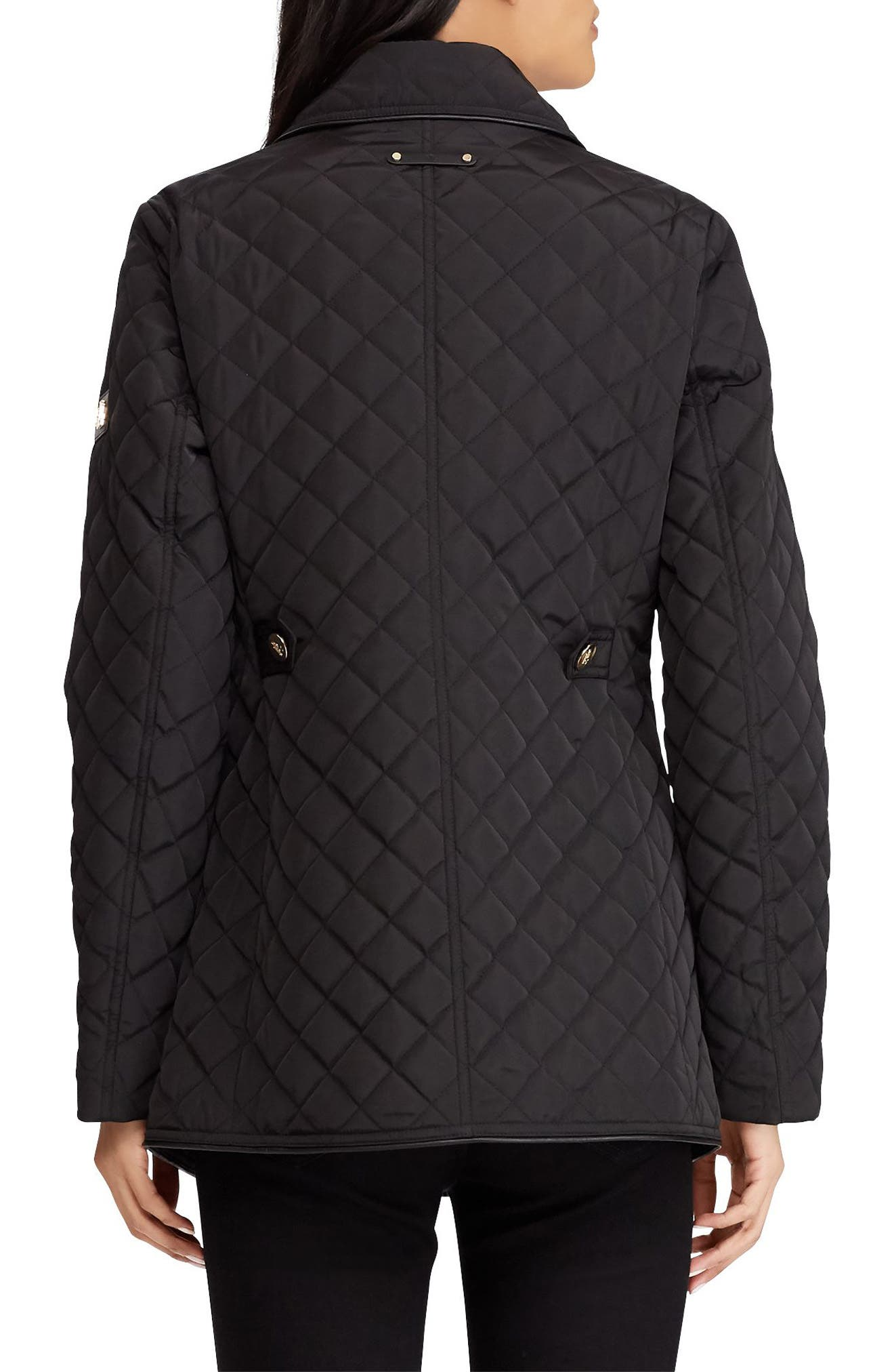 Double Breasted Quilted Coat,                             Alternate thumbnail 2, color,                             001