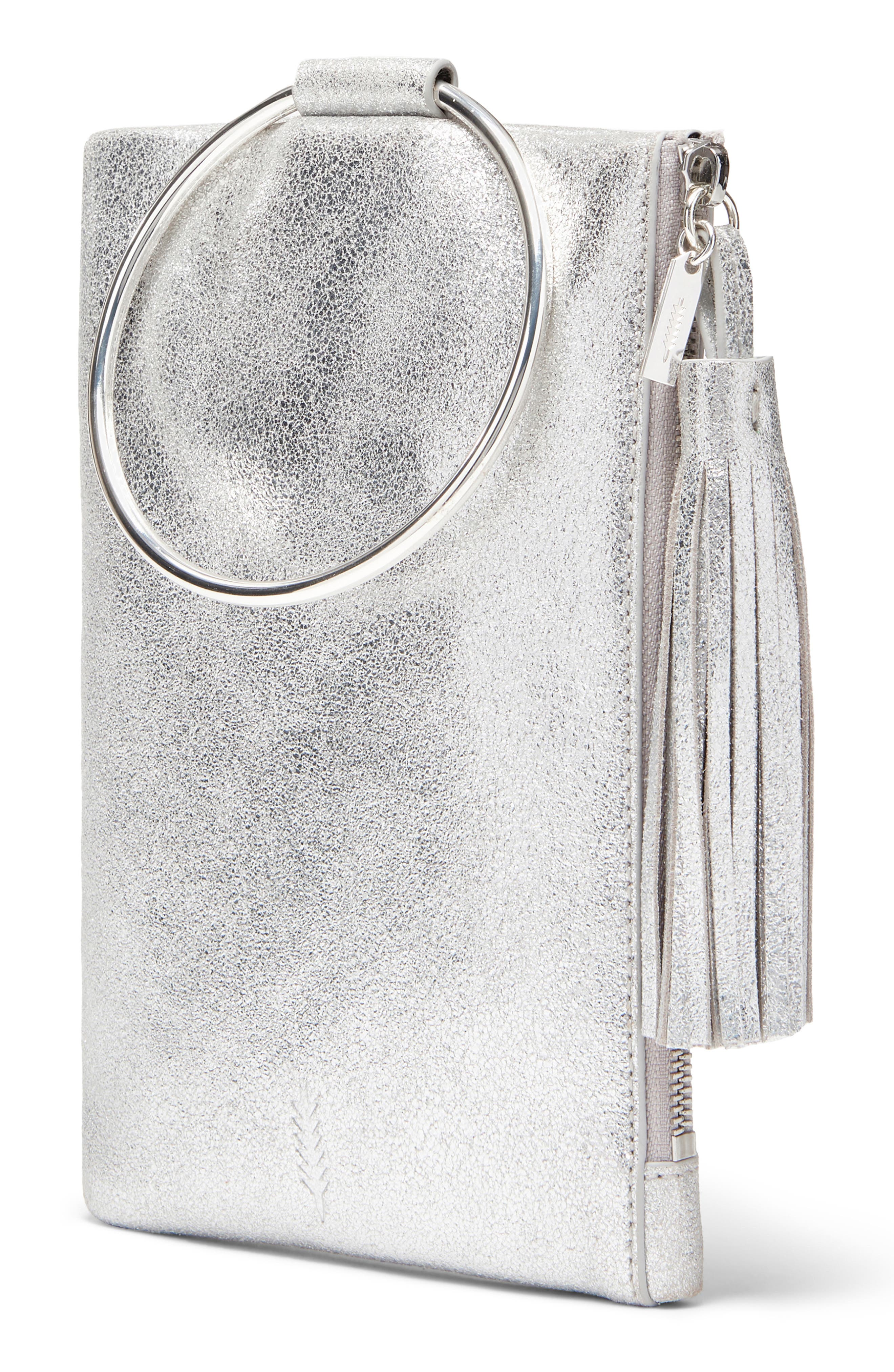 Nolita Ring Handle Leather Clutch,                         Main,                         color, SILVER