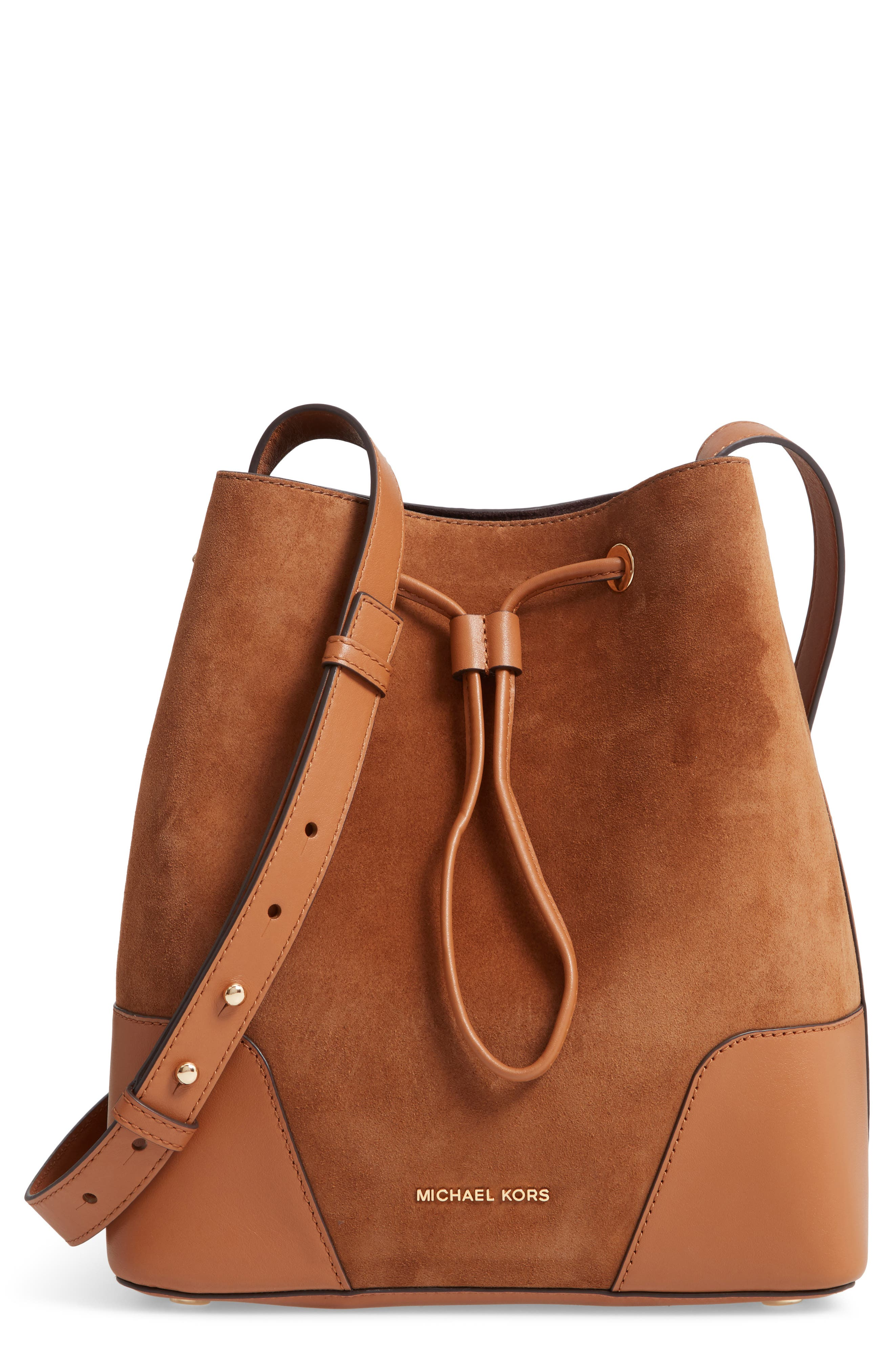 Cary Leather & Suede Bucket Bag,                             Main thumbnail 1, color,