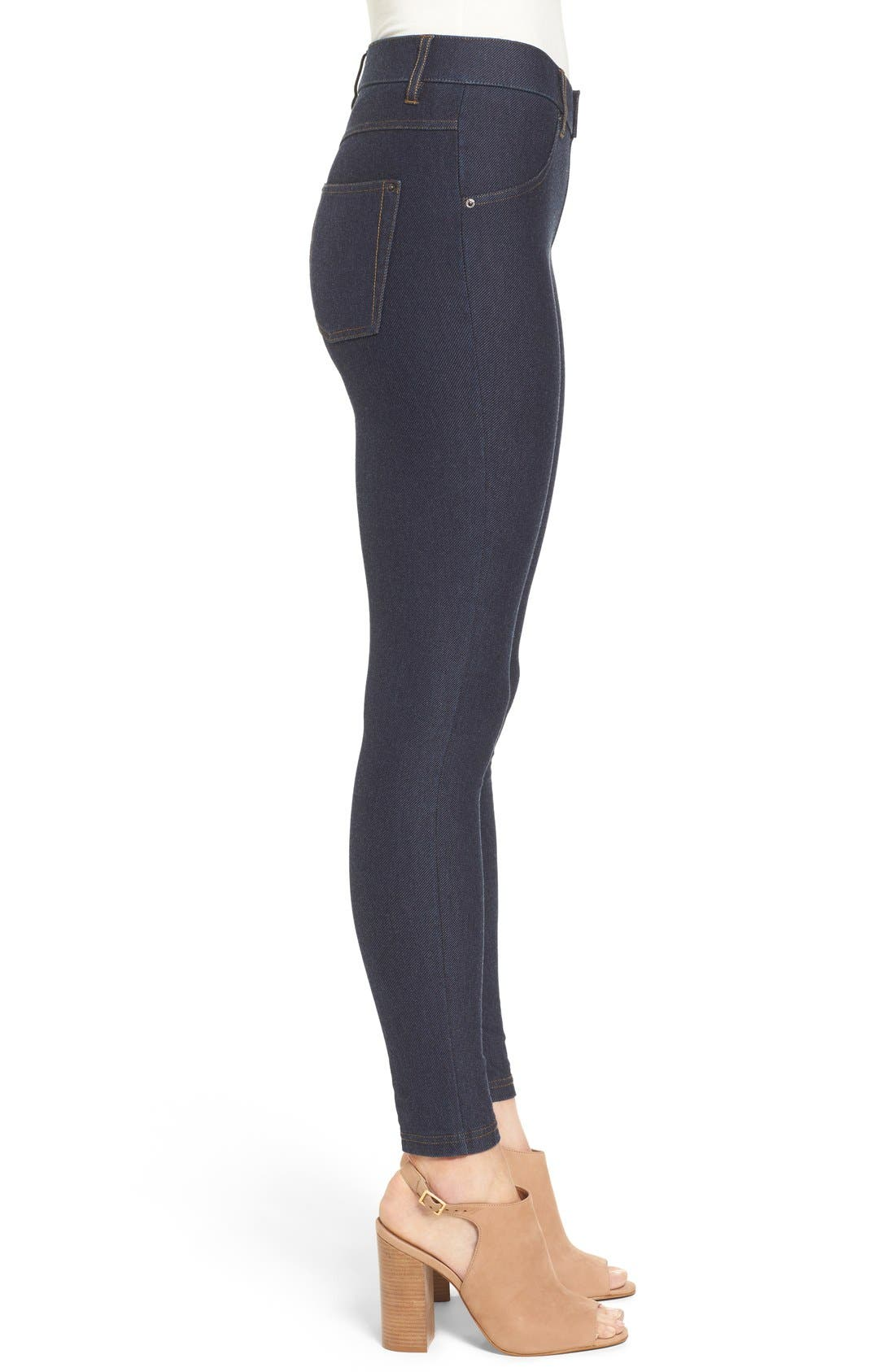 Denim Leggings,                             Alternate thumbnail 3, color,                             DEEP INDIGO