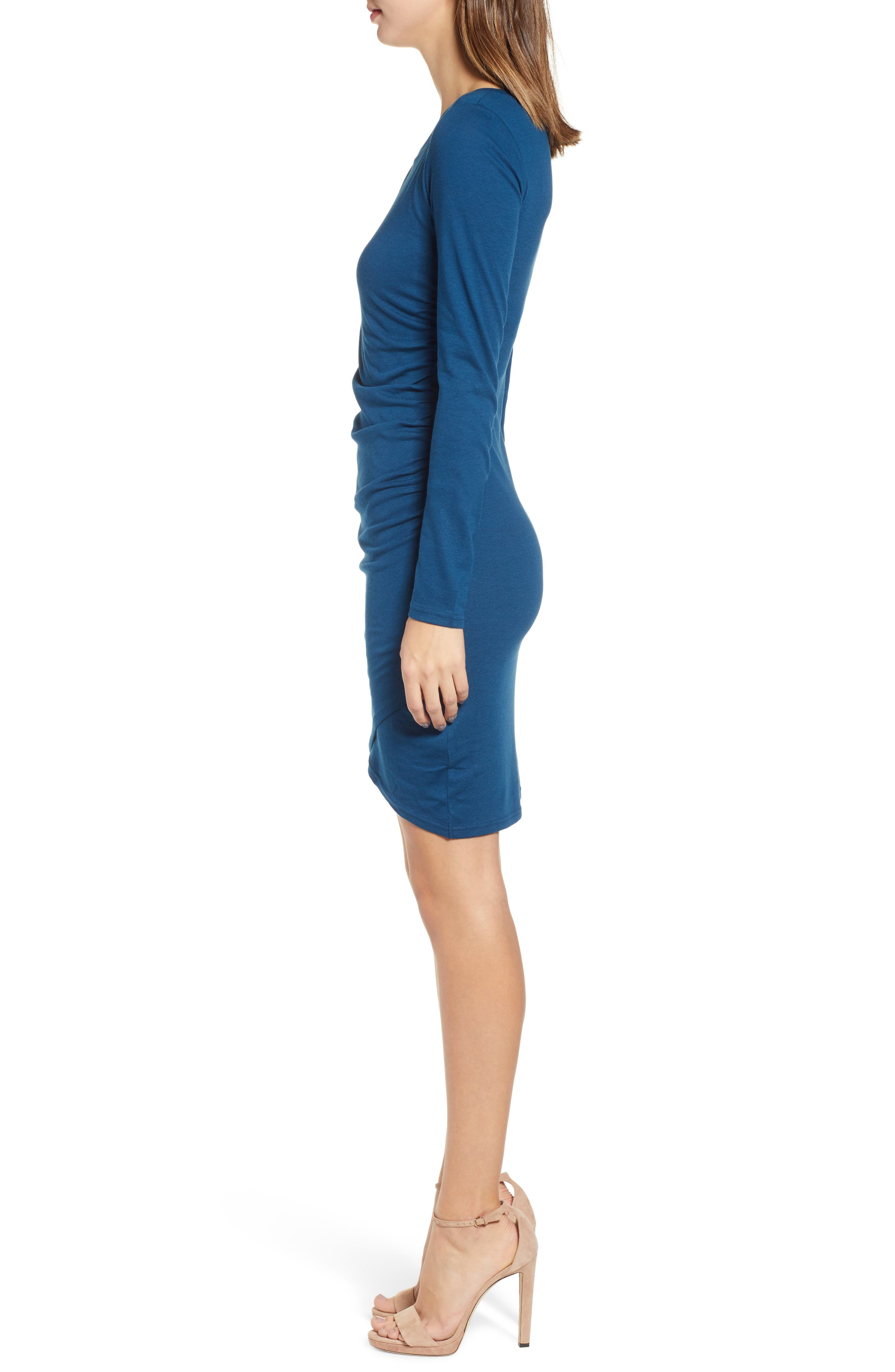 Ruched Long Sleeve Dress,                             Alternate thumbnail 3, color,                             BLUE AURORA