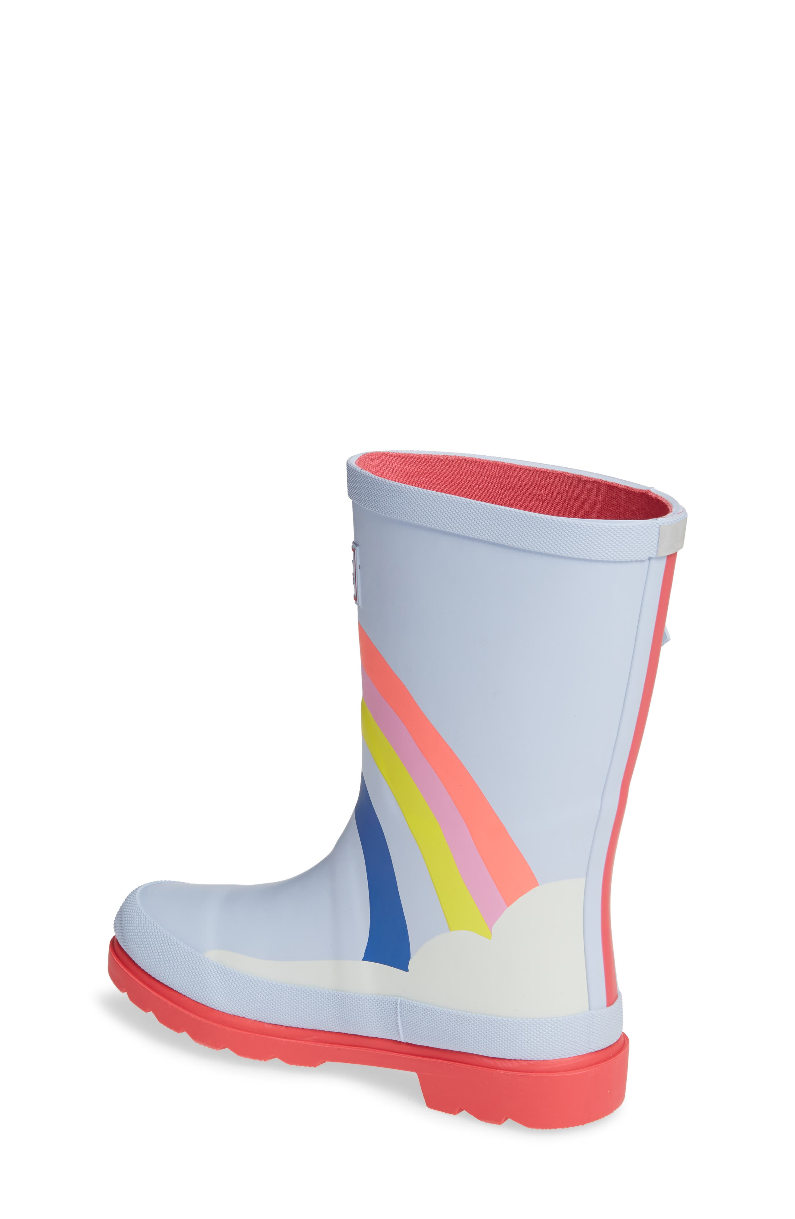 Mid Height Print Welly Waterproof Rain Boot,                             Alternate thumbnail 2, color,                             BLUE RAINBOW